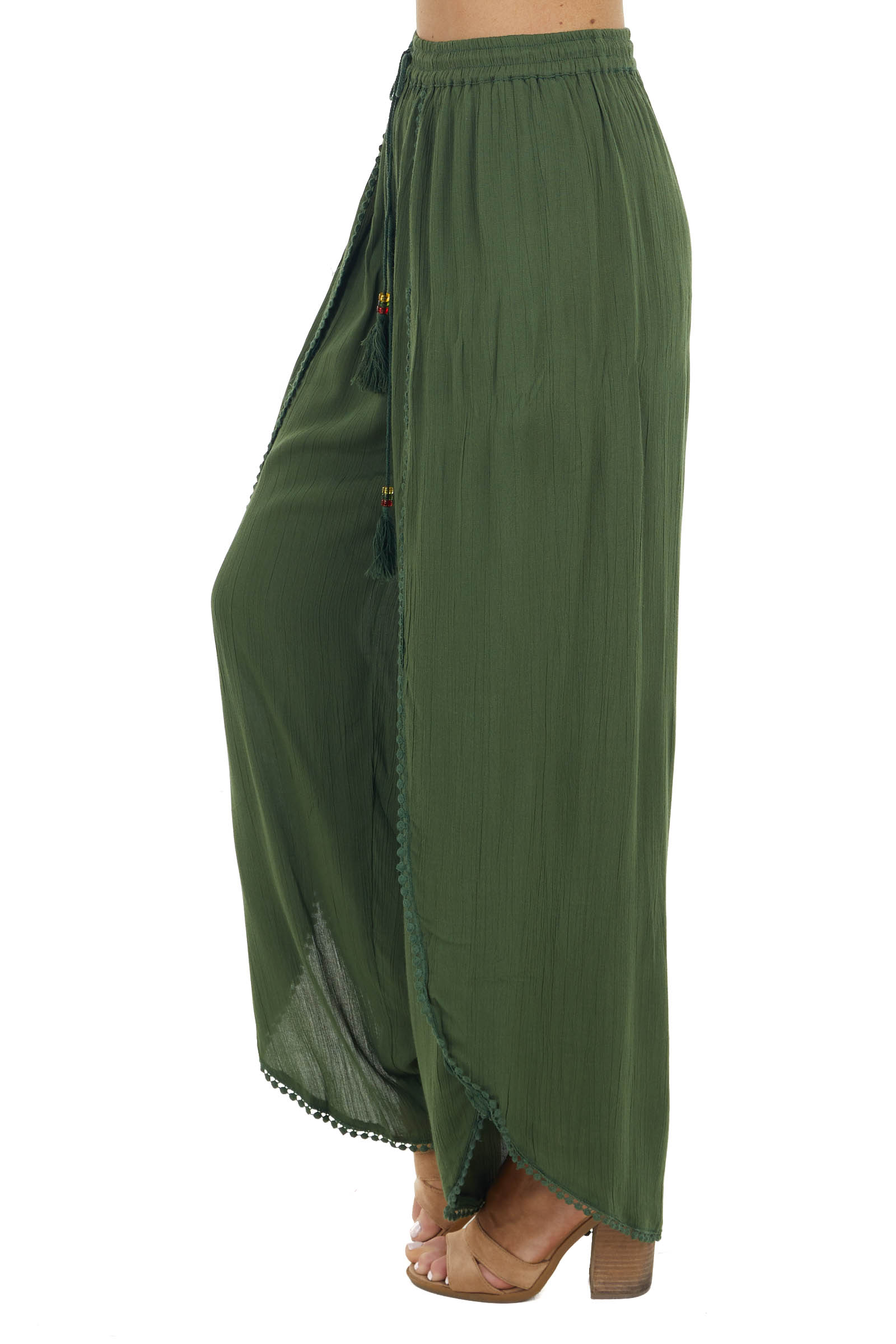 Hunter Green Open Leg Wrap Pants with Tassel and Lace Detail