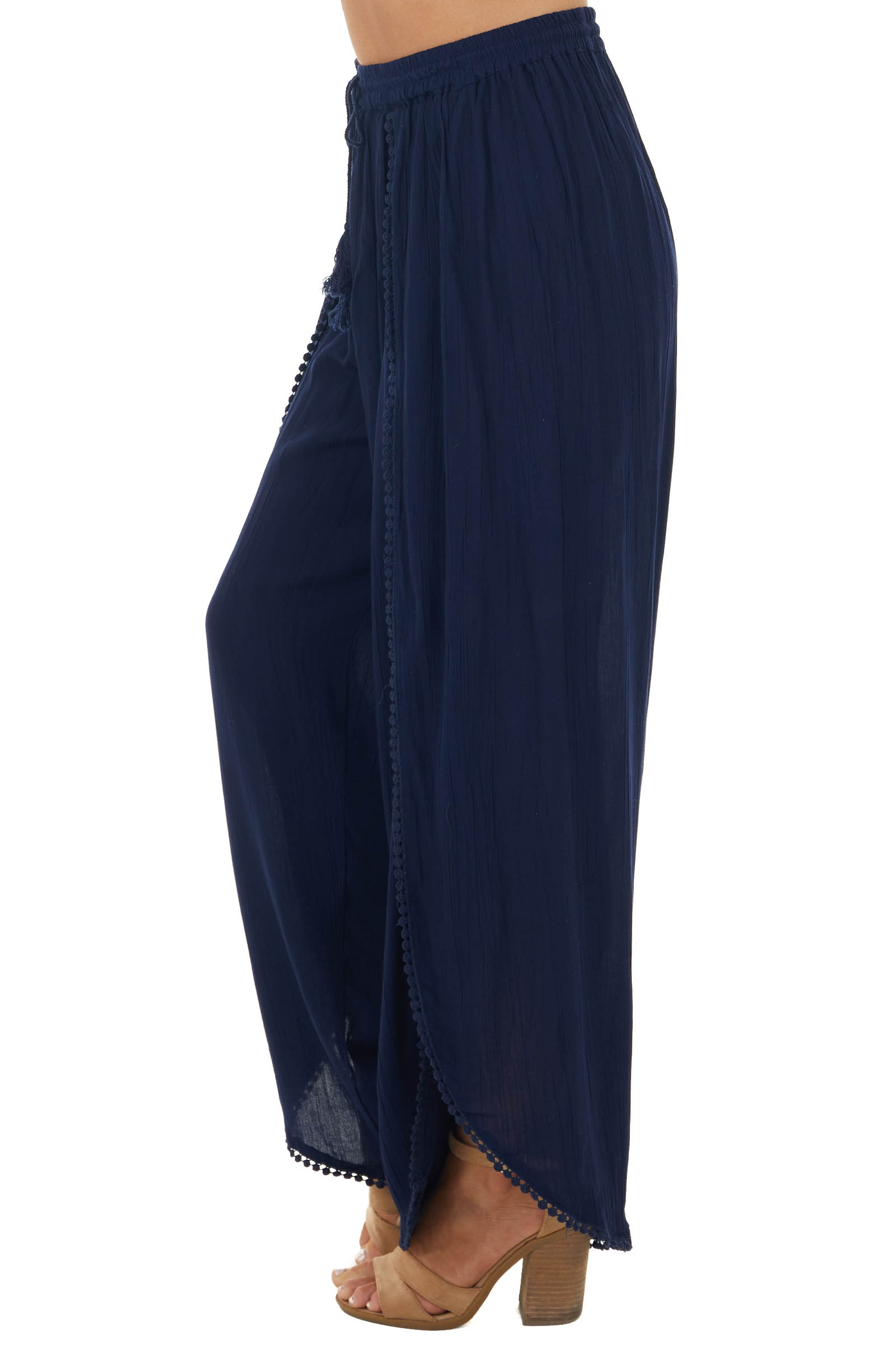 Navy Open Leg Wrap Pants with Tassel and Lace Details