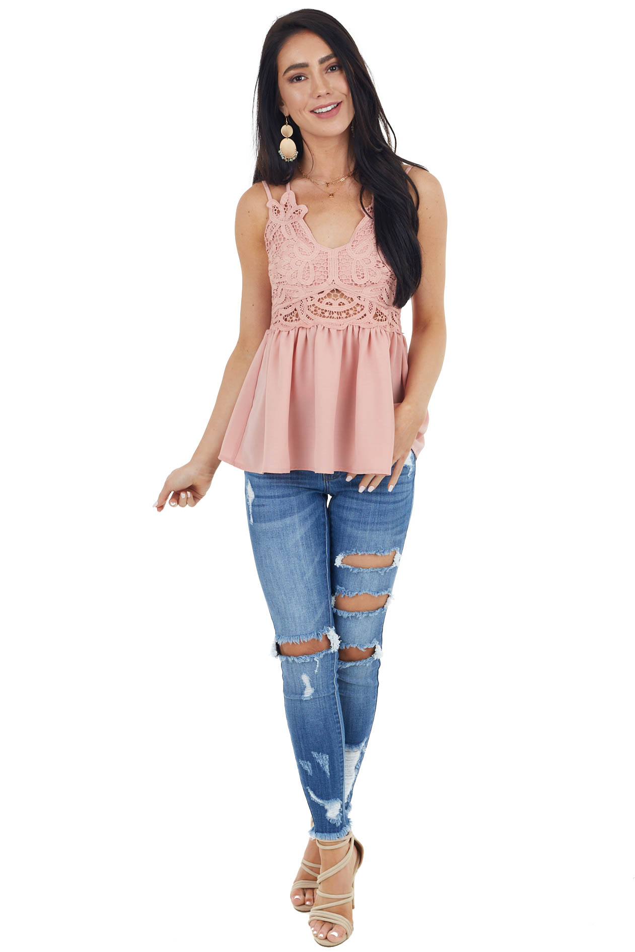 Coral Babydoll Top with Lace Bust and Peekaboo Waist Detail