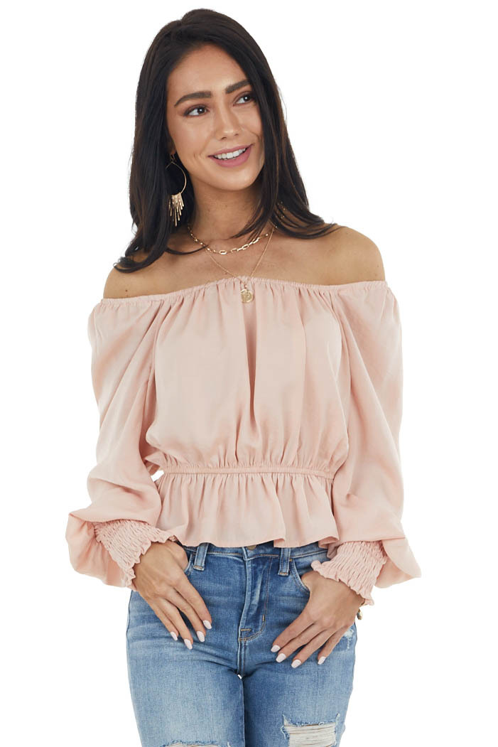 Peach Peplum Crop Top with Bubble Sleeves and Smocked Cuffs