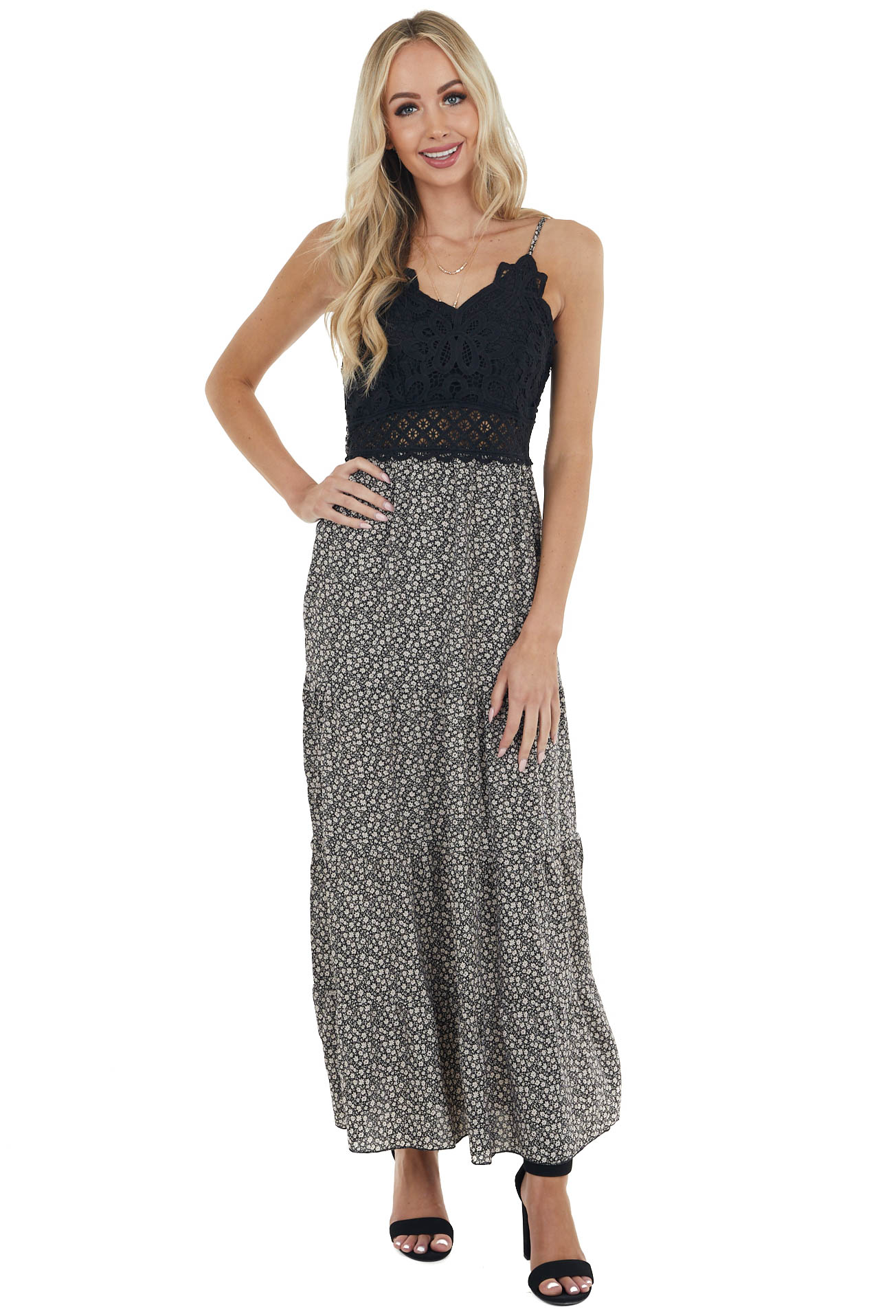 Black and Vanilla Ditsy Floral Tiered Maxi Dress with Lace