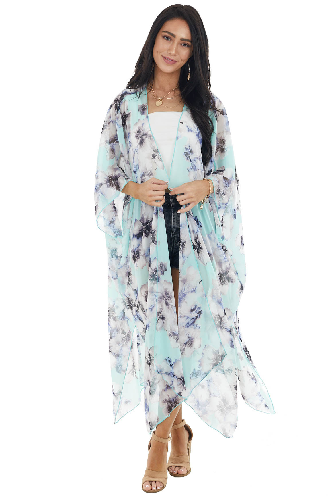 Mint Floral Print Short Sleeve Kimono with Side Slits