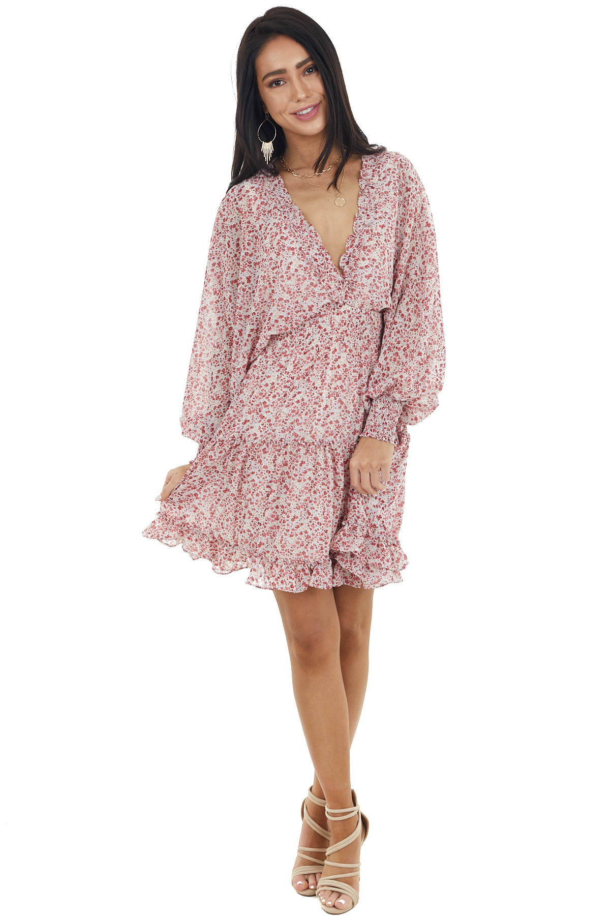 Ivory Floral Print Long Sleeve Dress with Smocked Details