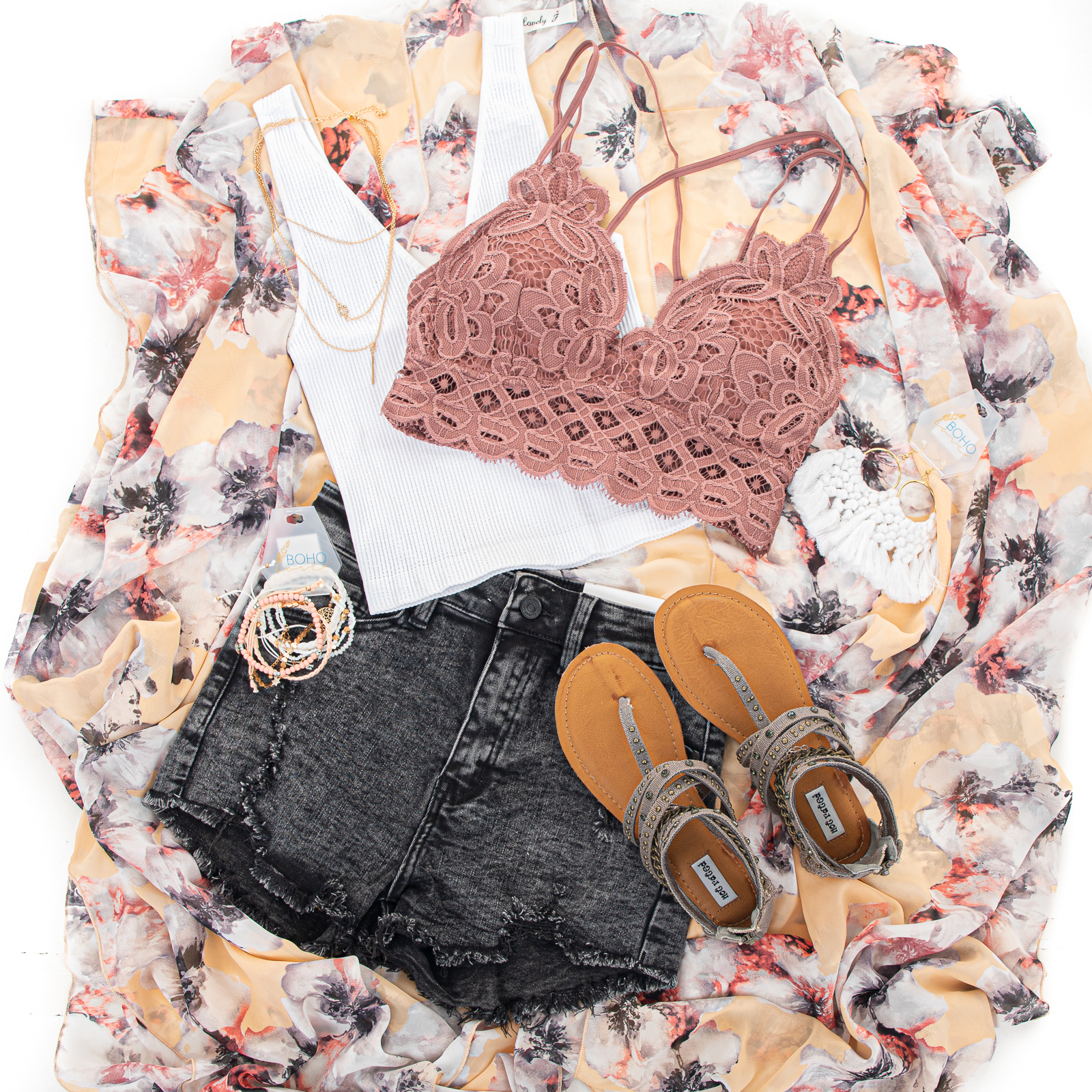 Peach Floral Print Short Sleeve Kimono with Side Slits
