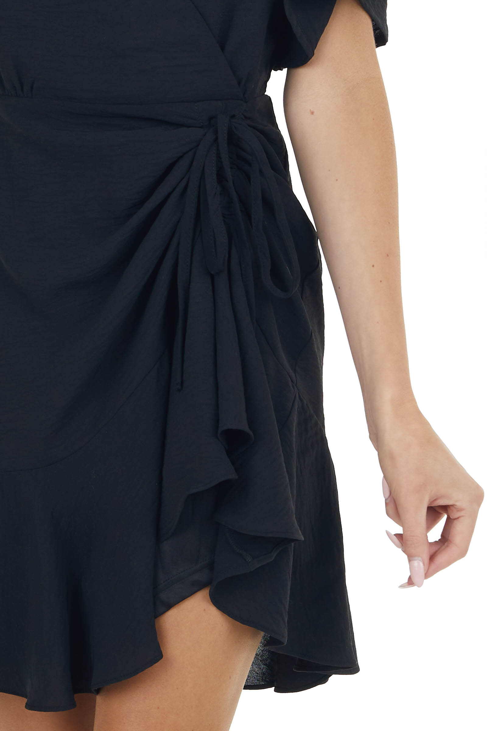 Black Surplice and Ruffled Mini Dress with Ruched Detail