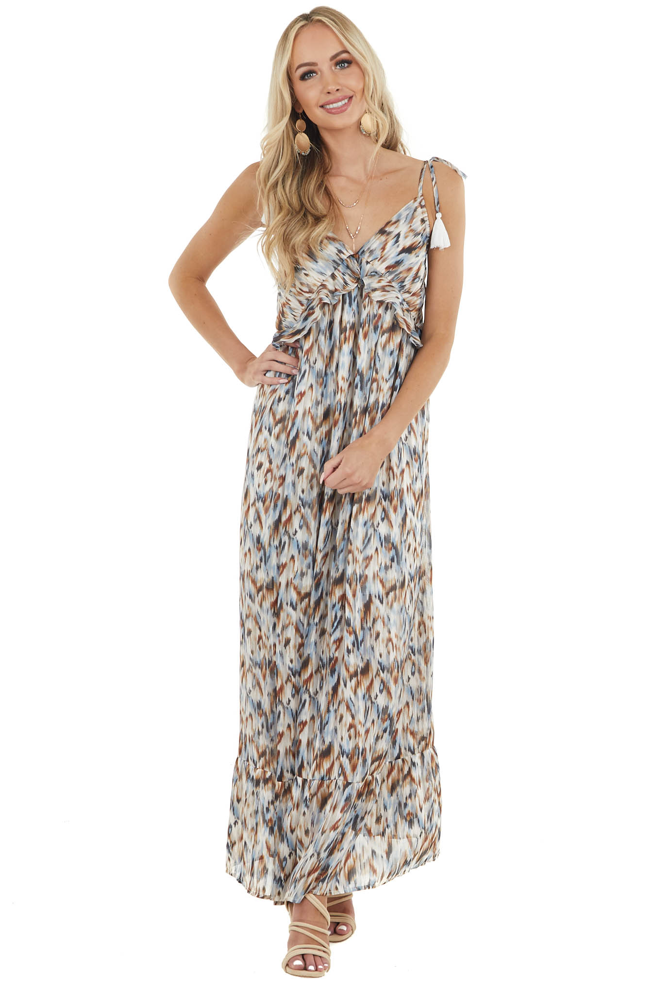 Powder Blue Abstract Print Sleeveless Babydoll Maxi Dress