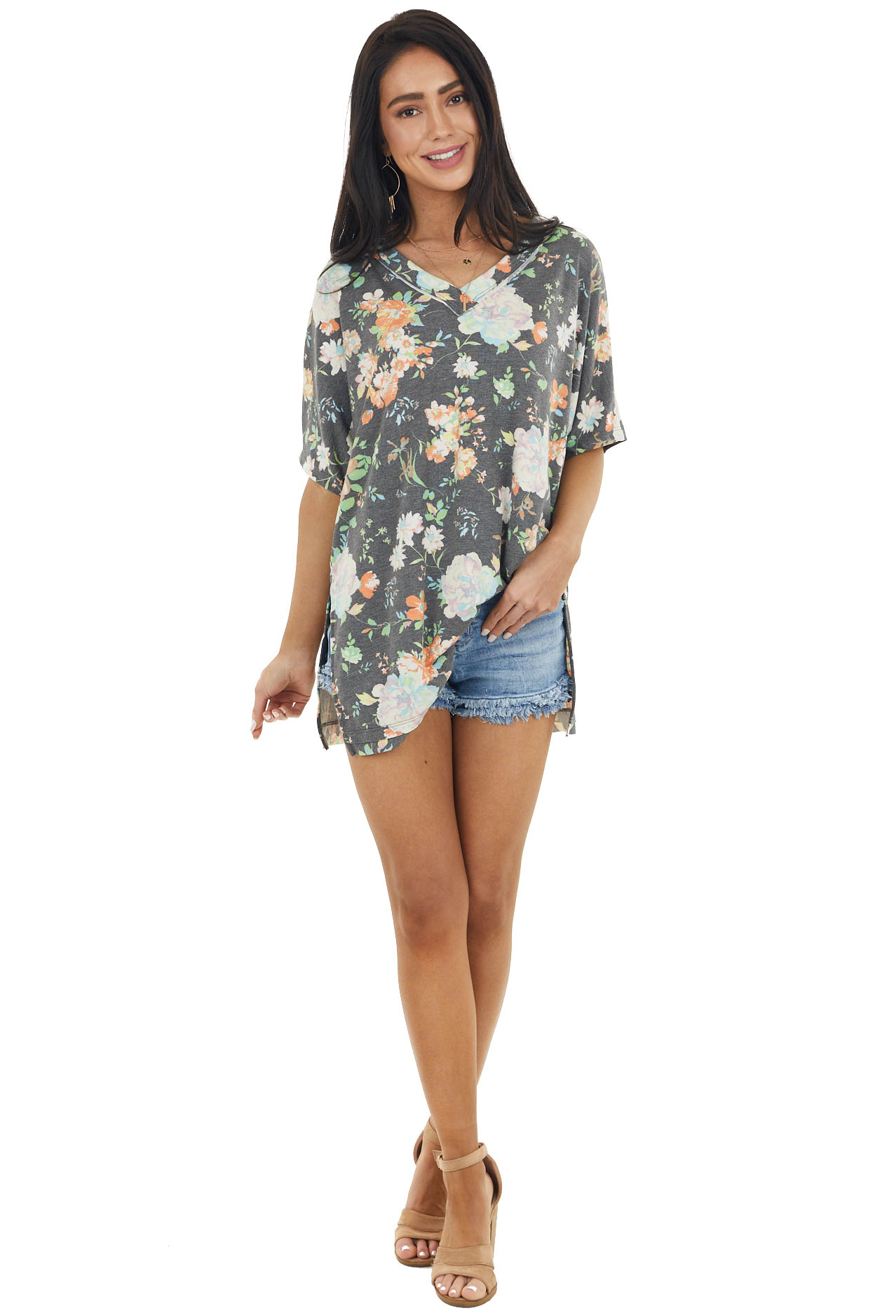 Charcoal Grey Floral Print V Neck Top with Short Sleeves