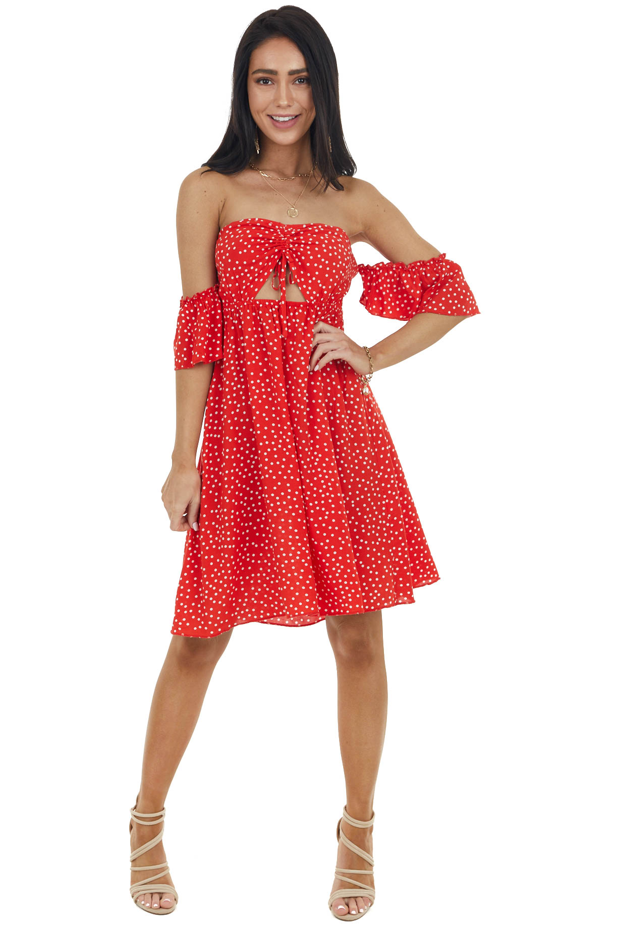 Lipstick Red Polka Dot Off the Shoulder Dress with Ruching