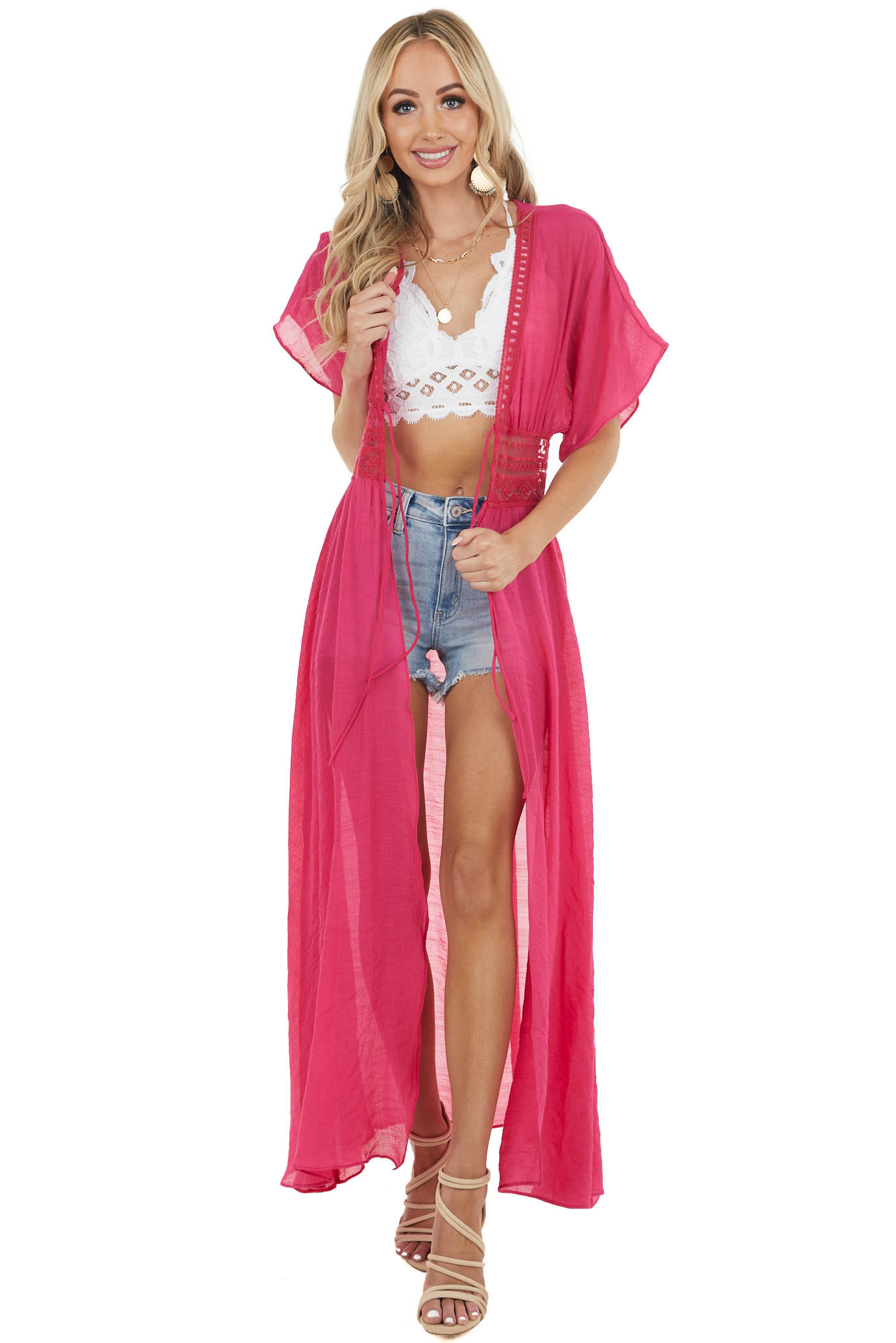 Hot Pink Front Tie Duster Length Kimono with Lace Details