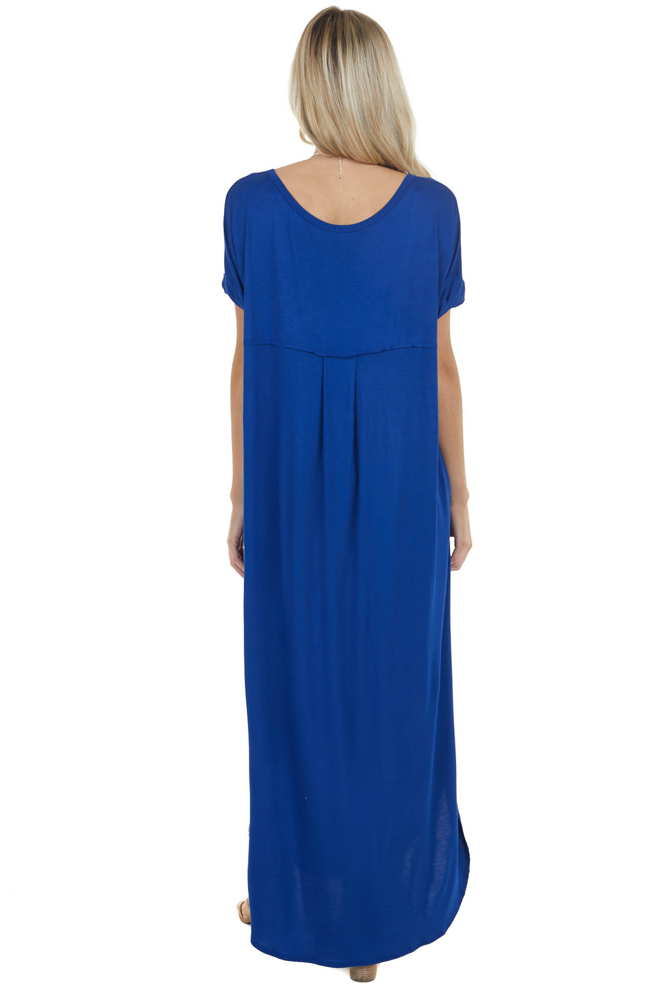 Royal Blue Maxi Dress with Side Slits and Side Pockets