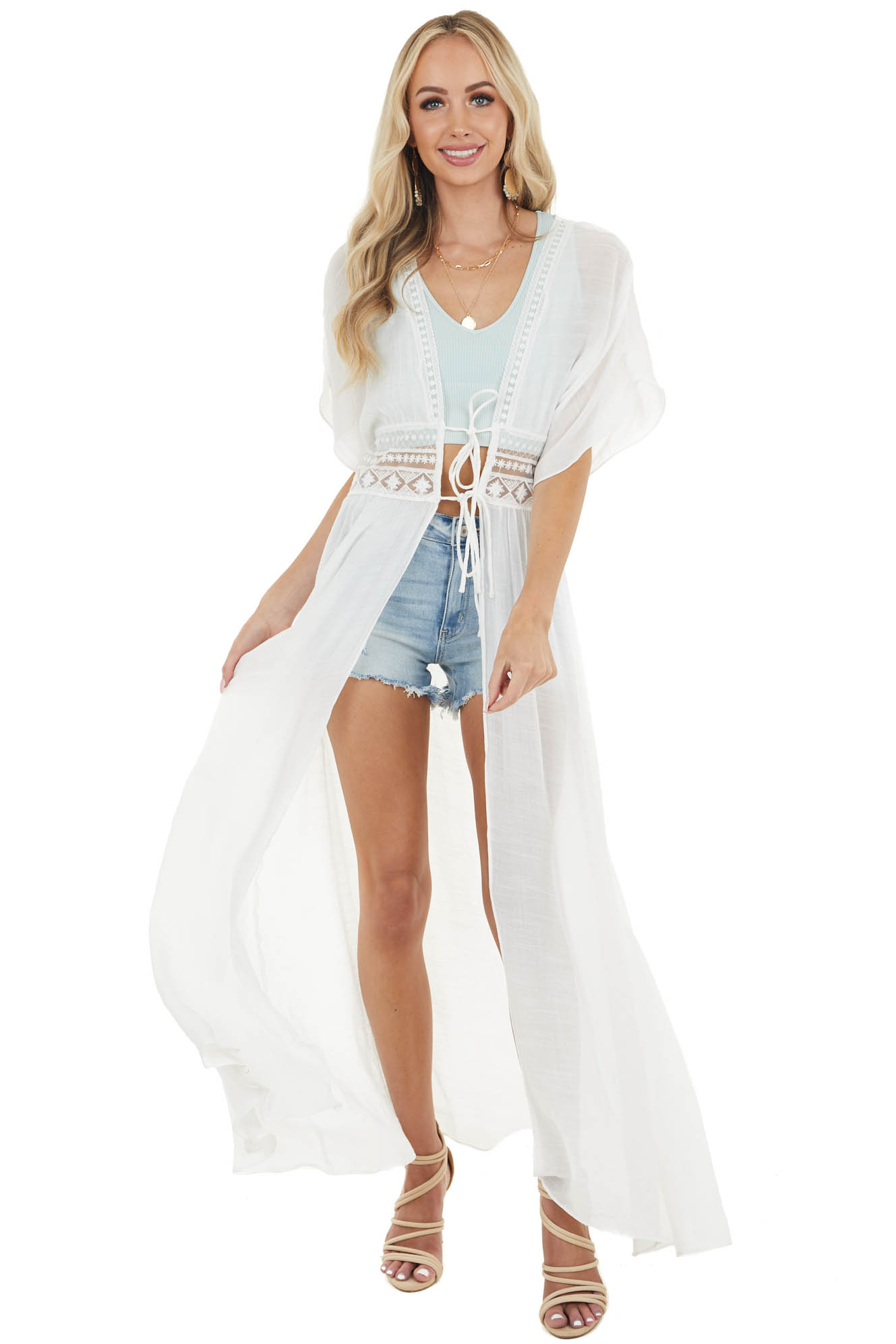 Off White Front Tie Duster Length Kimono with Lace Details