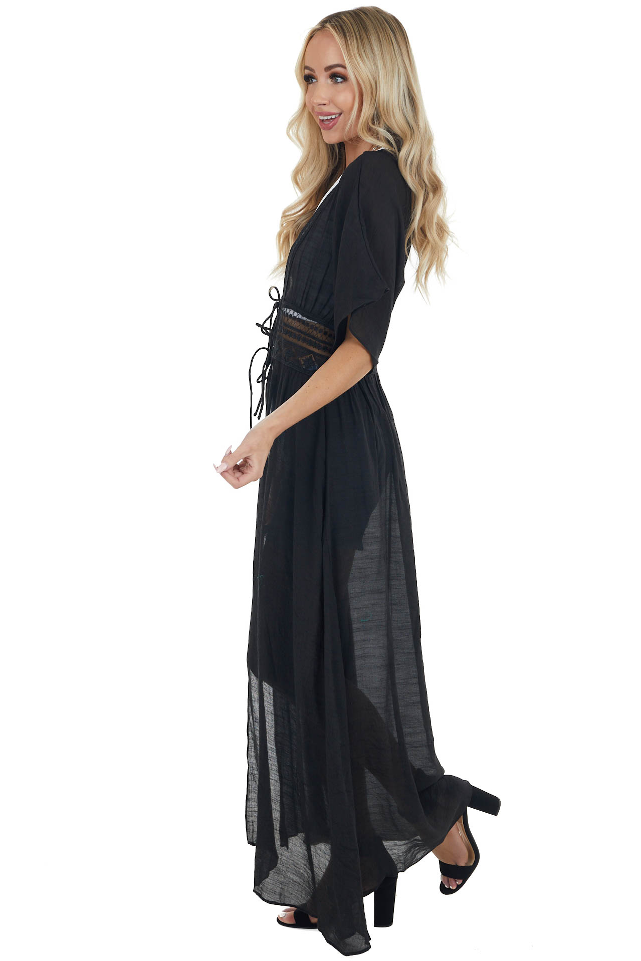 Black Front Tie Duster Length Kimono with Lace Details