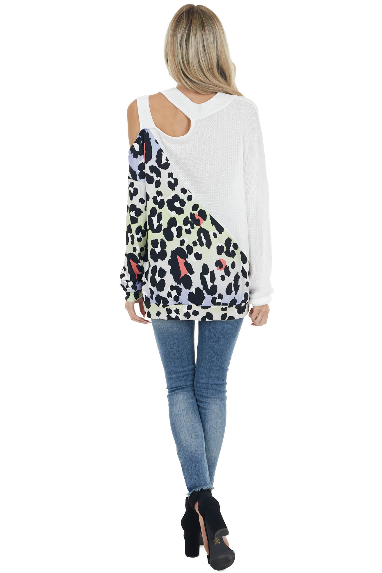 Ivory Cold Shoulder Top with Leopard Print Contrast