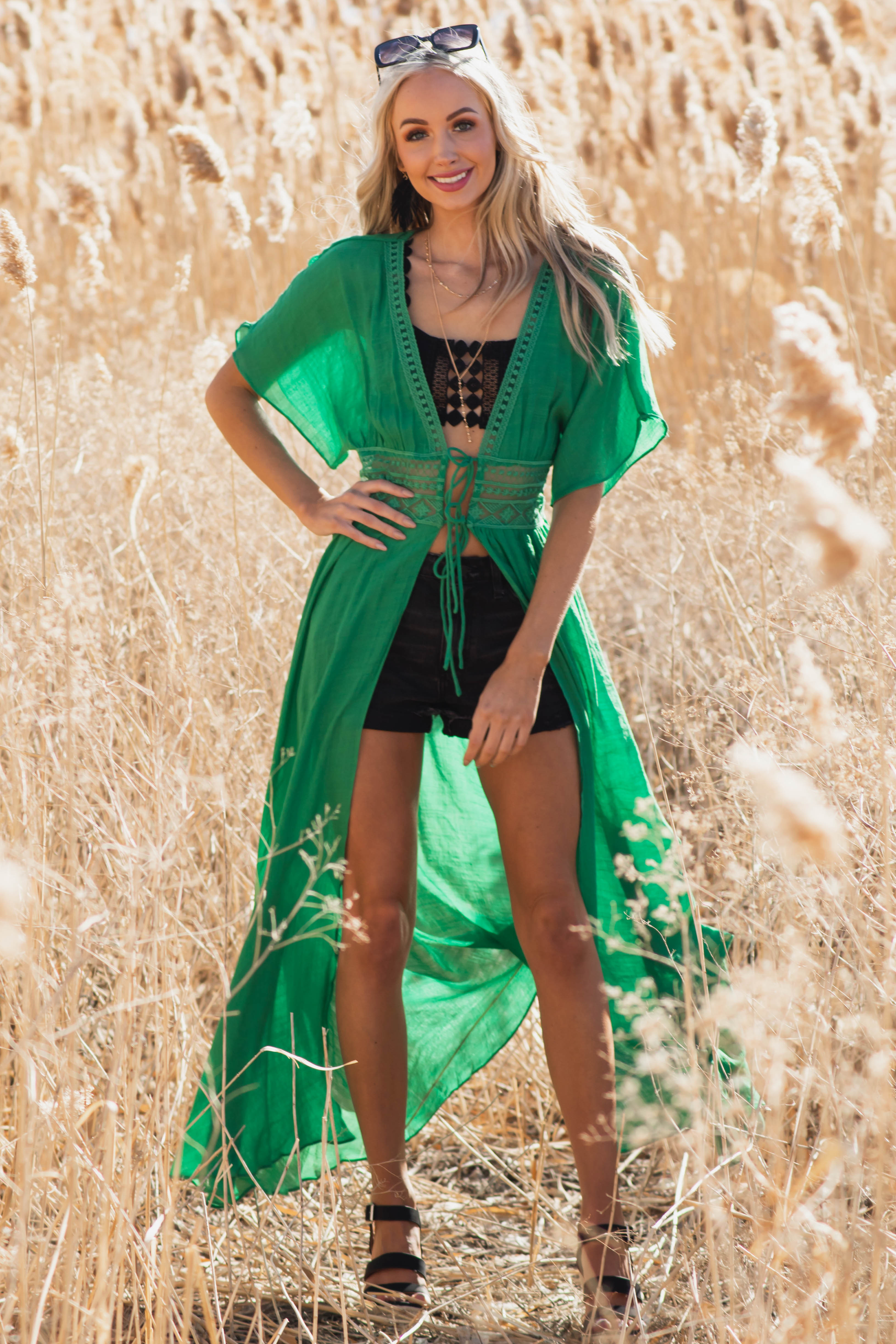 Jade Front Tie Duster Length Kimono with Lace Details