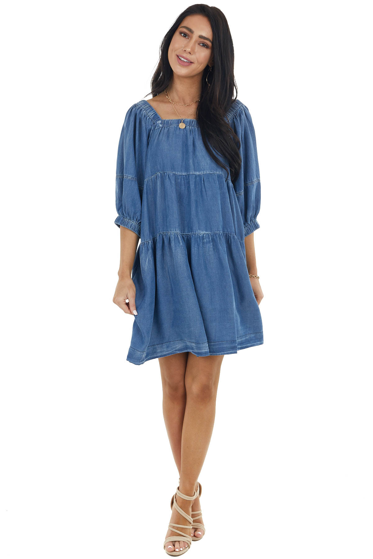 Dusty Blue Faux Denim Tiered Dress with Half Sleeves