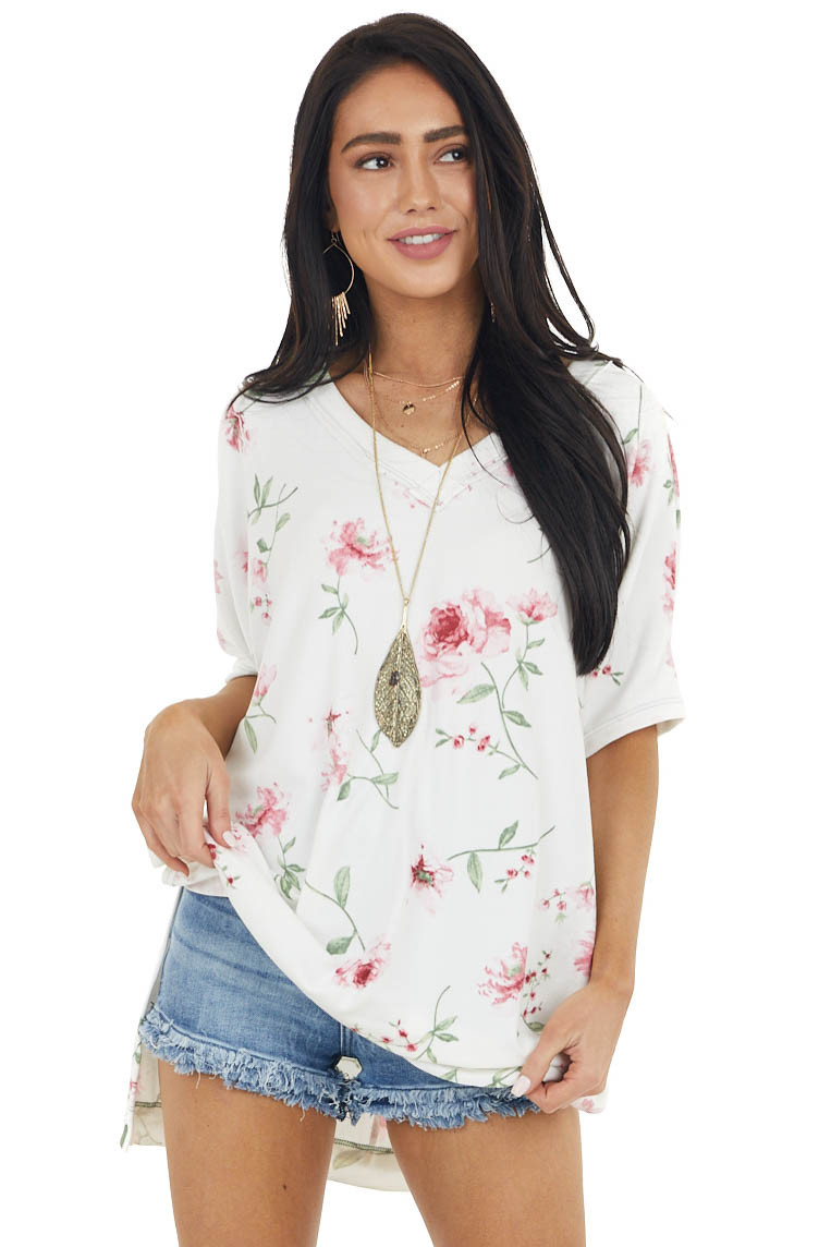 Ivory and Pink Floral Print V Neck Top with Short Sleeves