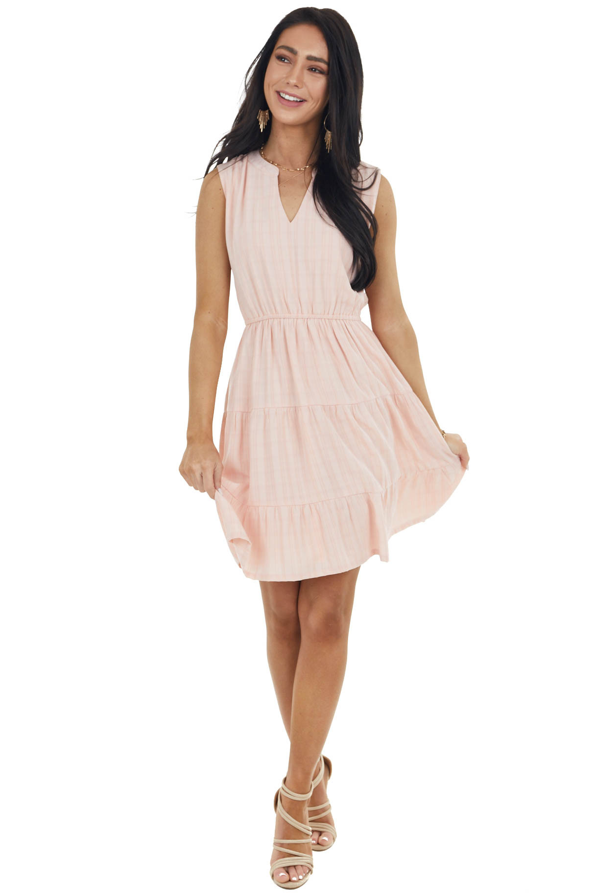 Pale Coral Sleeveless Tiered Short Dress with Notch Neckline