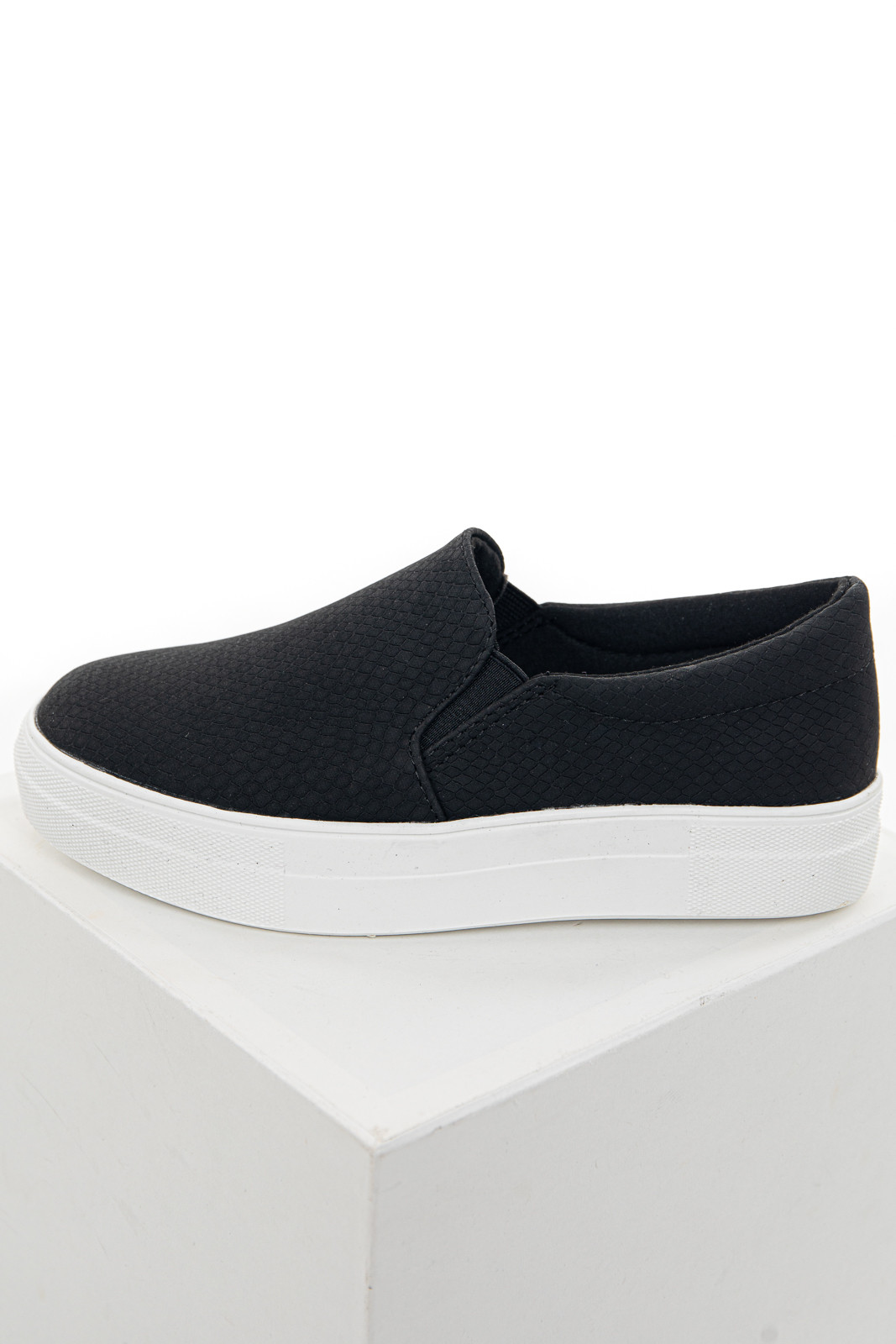 Black Snakeskin Textured Slip On Sneakers with Rubber Soles