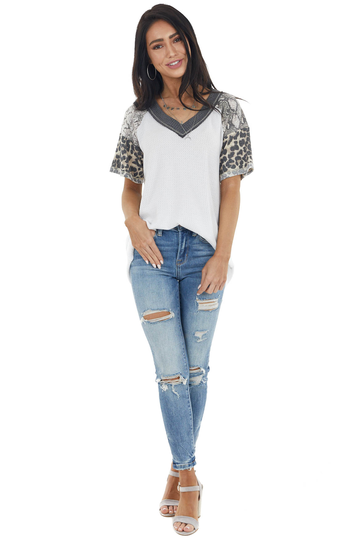 Off White V Neck Waffle Knit Top with Multiprint Sleeves