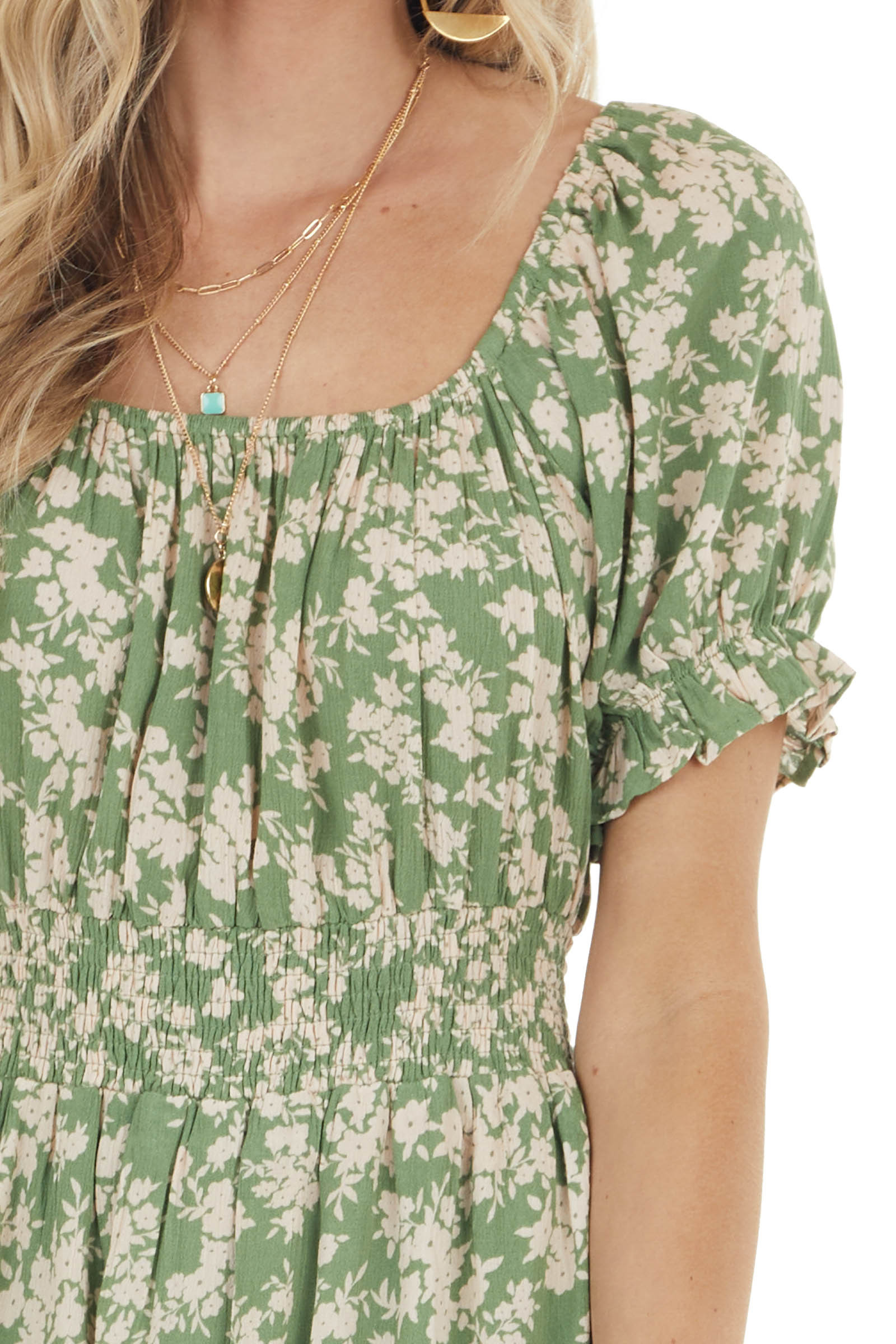 Rich Pistachio Floral Print Short Dress with Smocked Detail