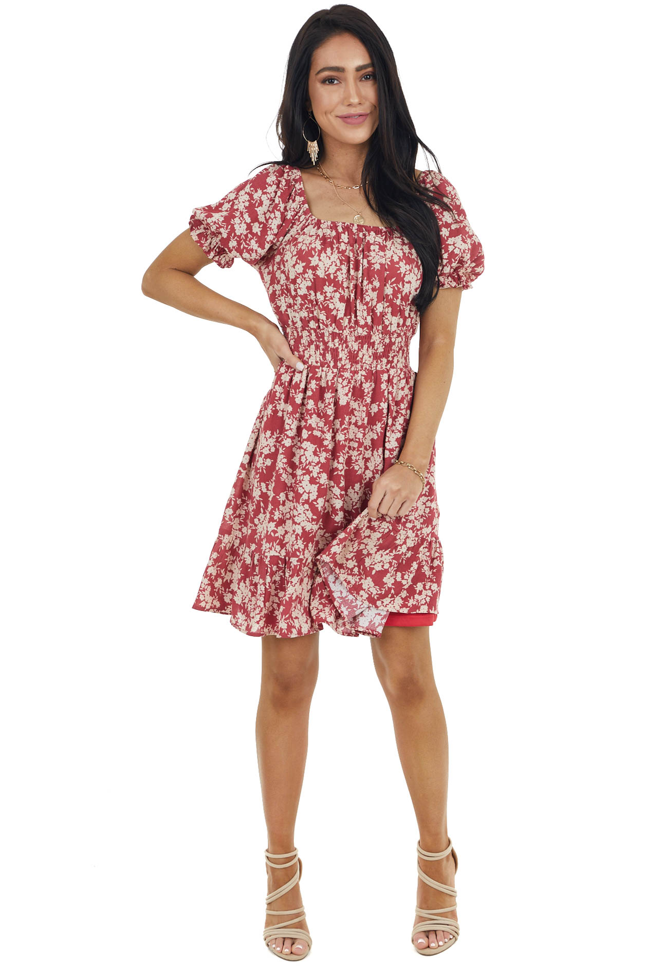 Ruby Red Floral Print Short Dress with Smocked Detail
