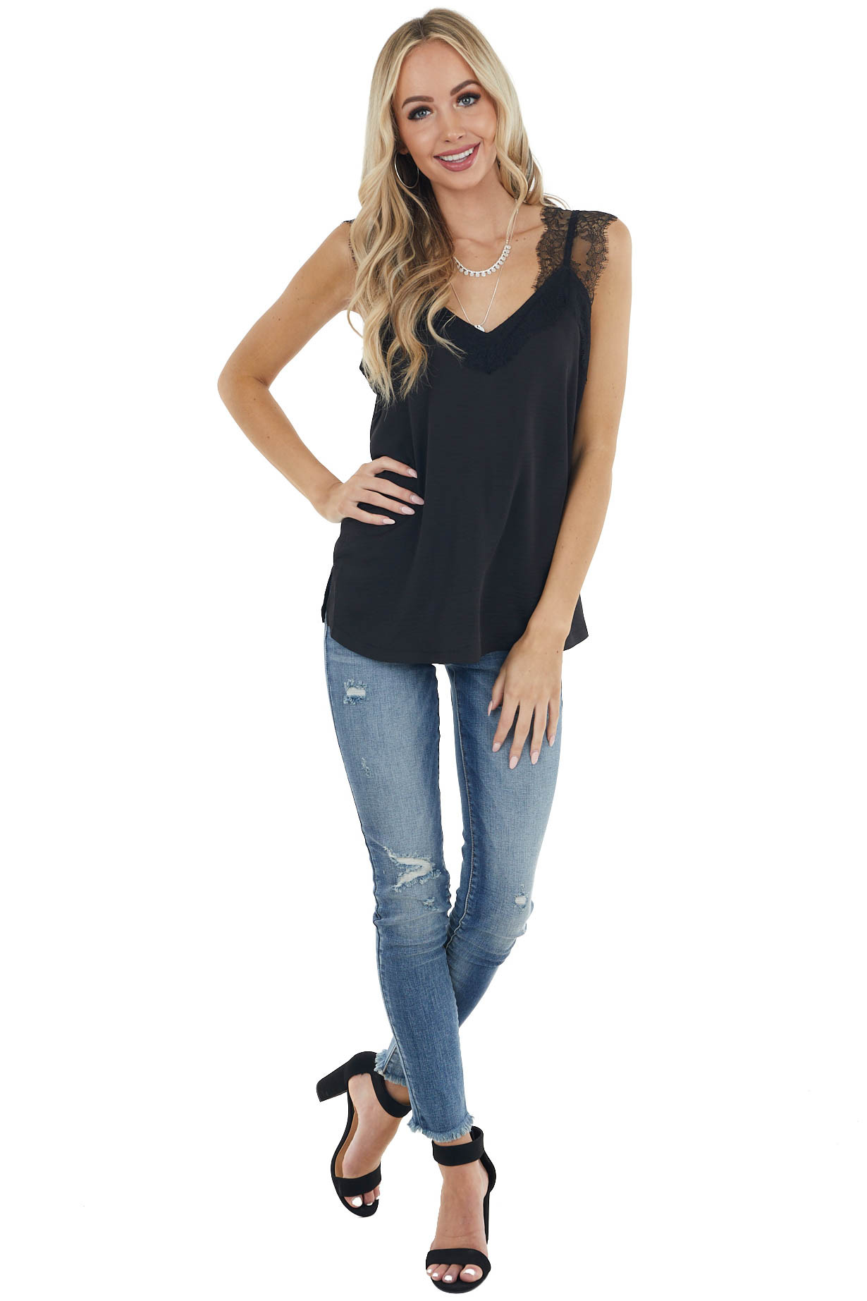 Black Lightweight Woven Camisole Top with Lace Details