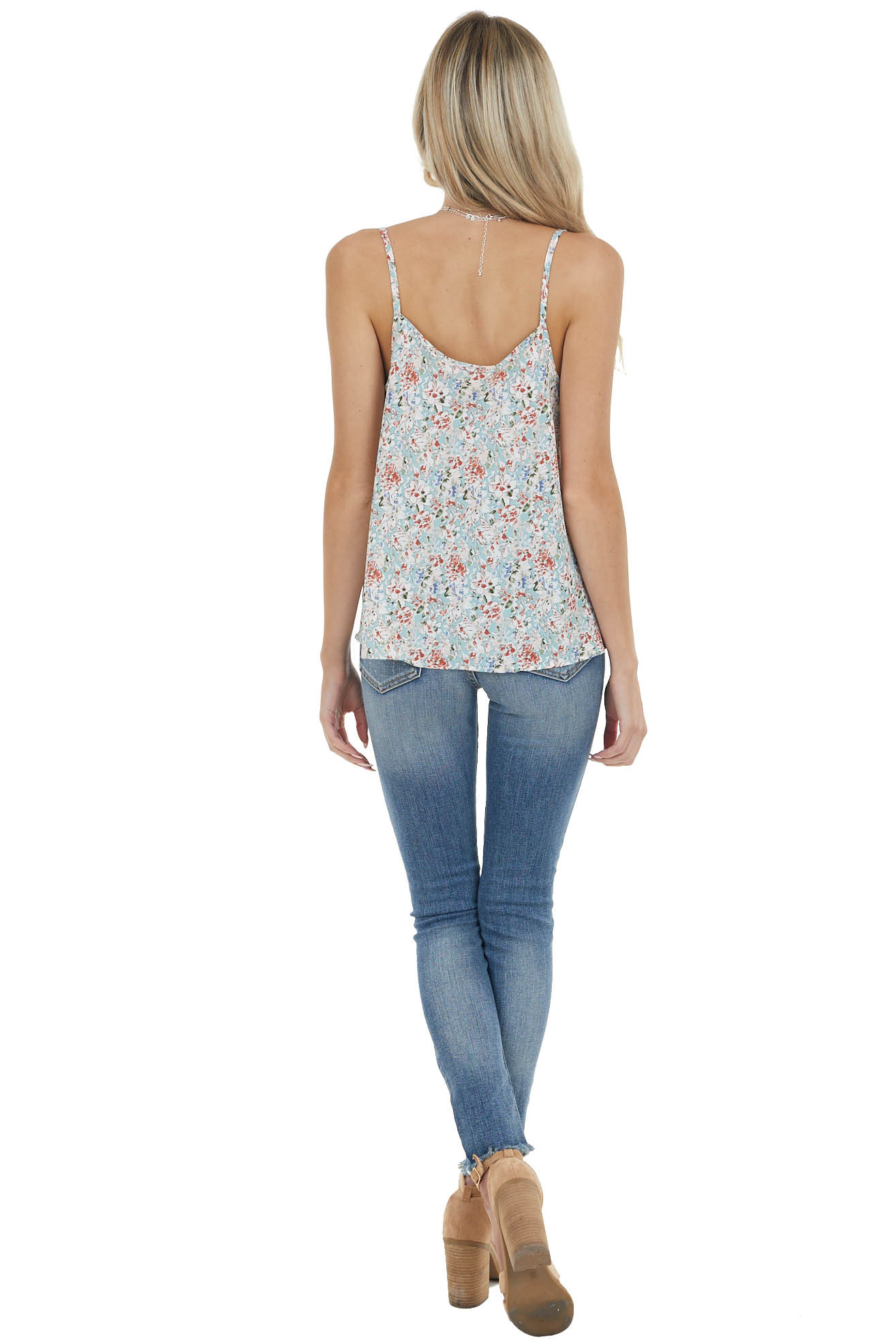 Sage Floral Print Sleeveless Blouse with Draped Neckline