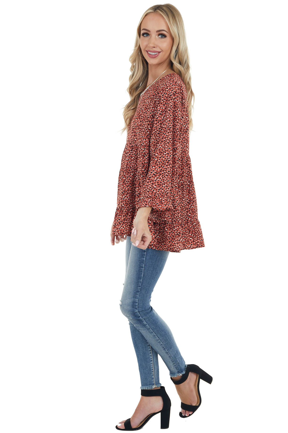Deep Rust Cheetah Print Babydoll Tiered Long Sleeve Top
