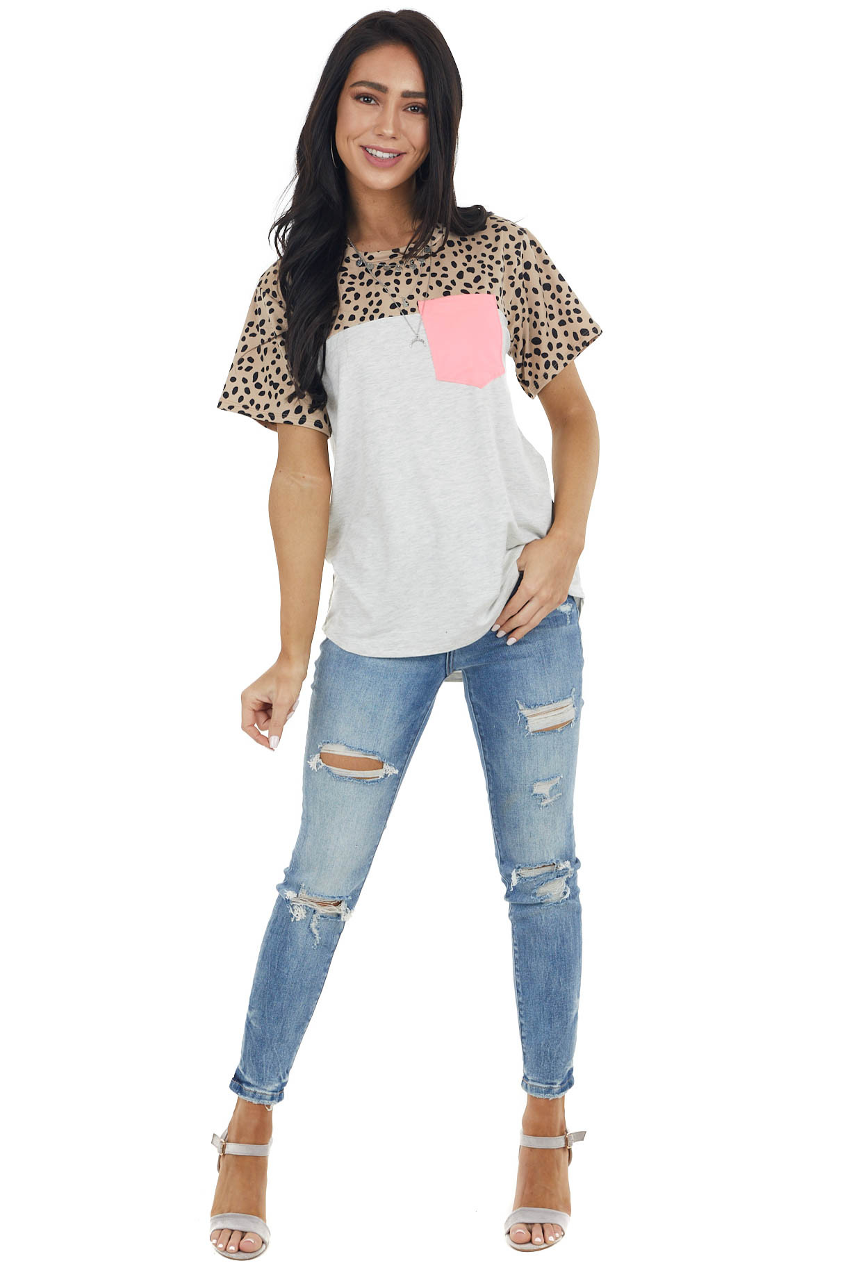 Taupe Cheetah Print Colorblock Top with Neon Pink Pocket