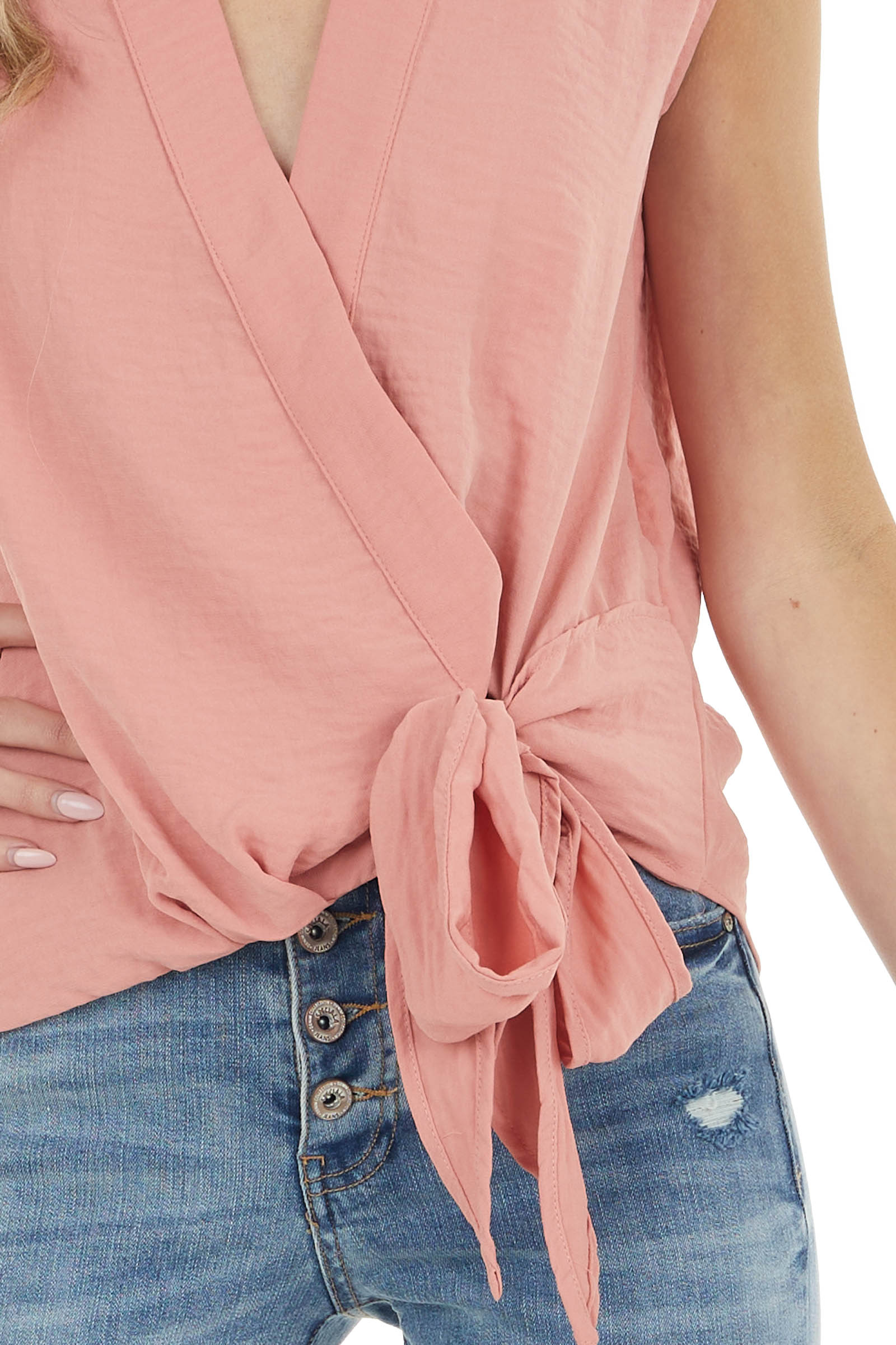 Dusty Coral Surplice Sleeveless Blouse with Side Tie