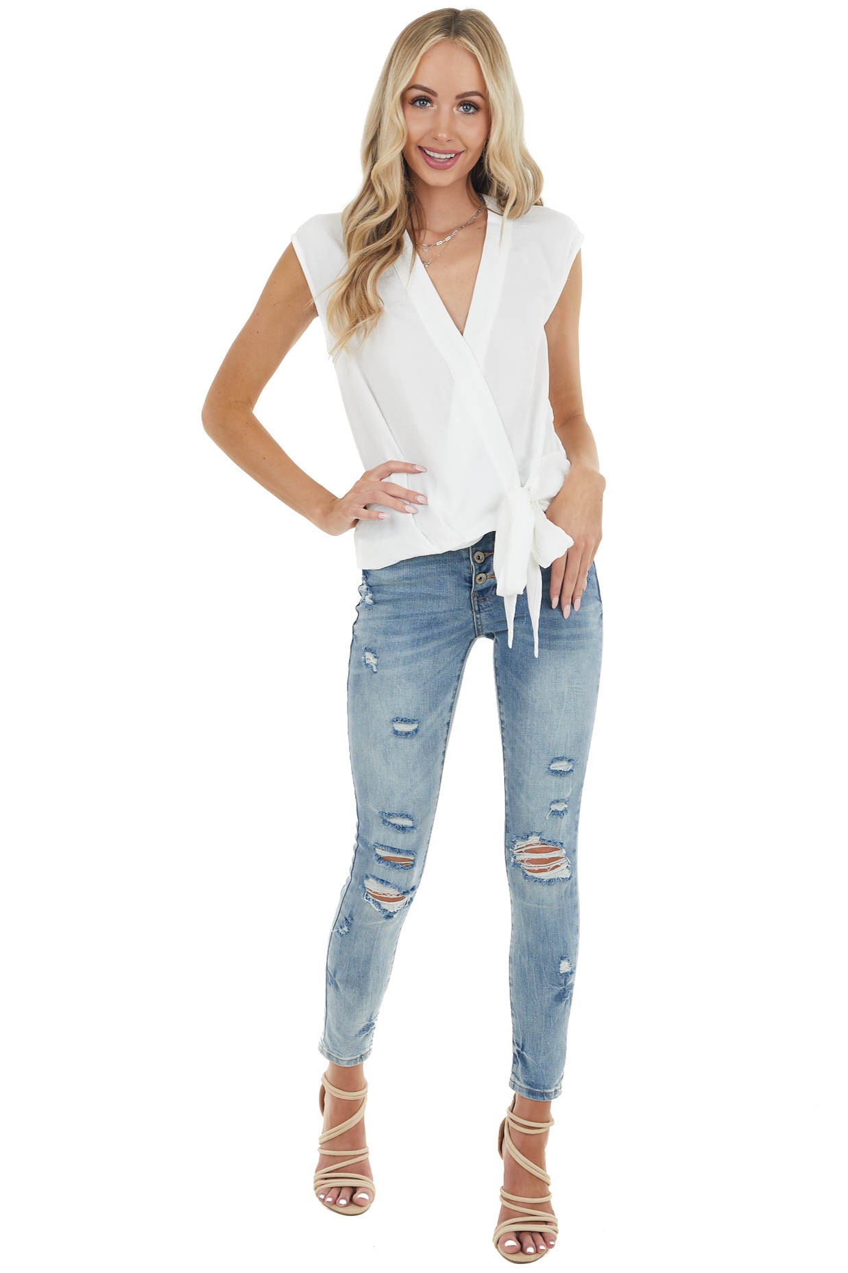 Off White Surplice Sleeveless Blouse with Side Tie