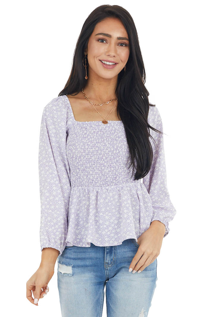 Lavender Ditsy Floral Print Smocked 3/4 Sleeve Woven Top