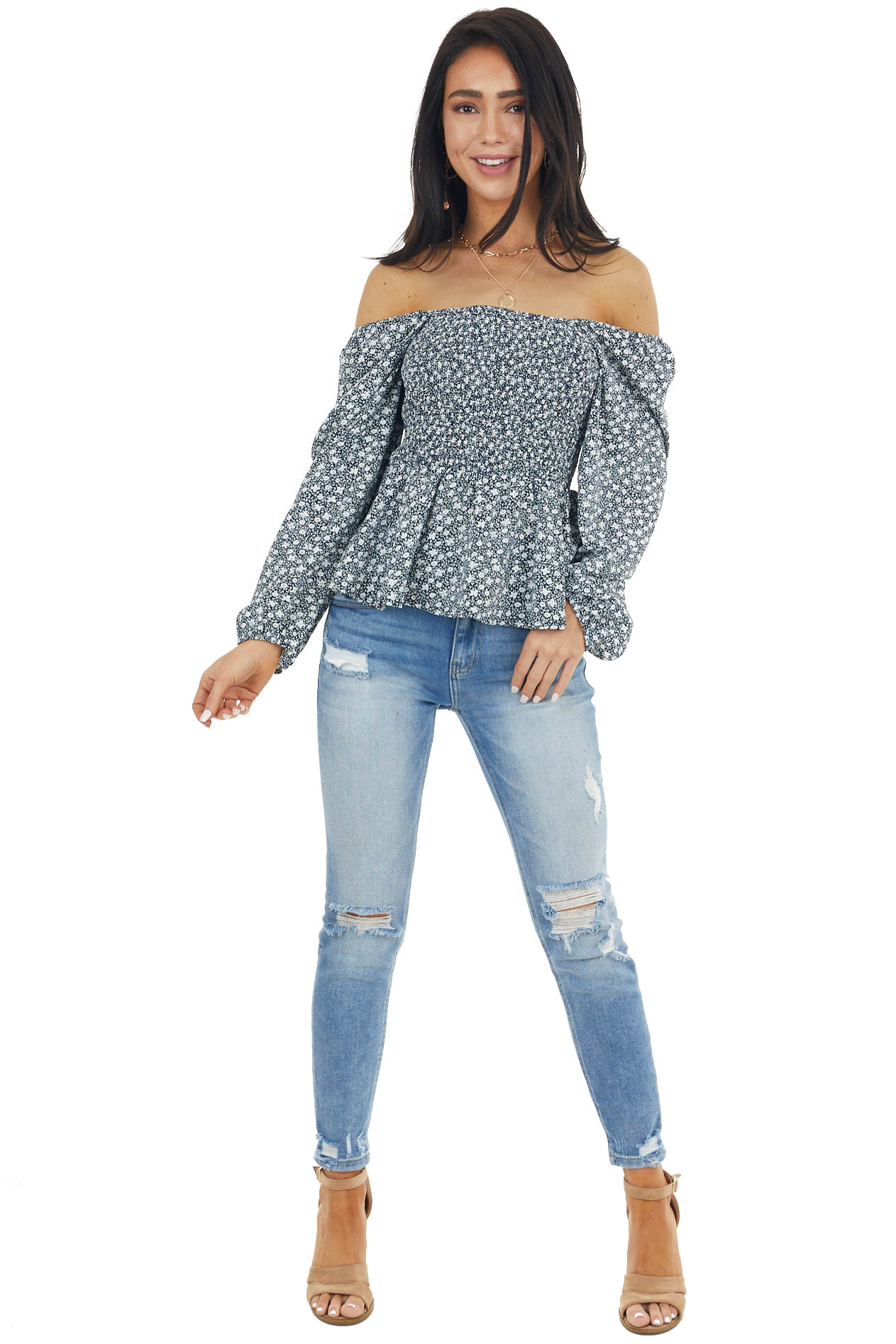 Navy Ditsy Floral Print Smocked 3/4 Sleeve Woven Top