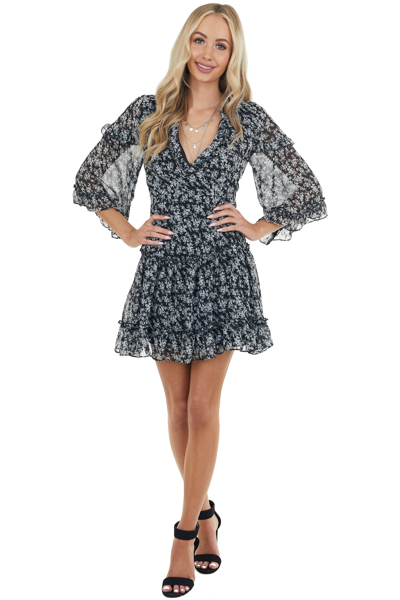 Black Ditsy Floral Tiered Short Dress with Open Back Detail