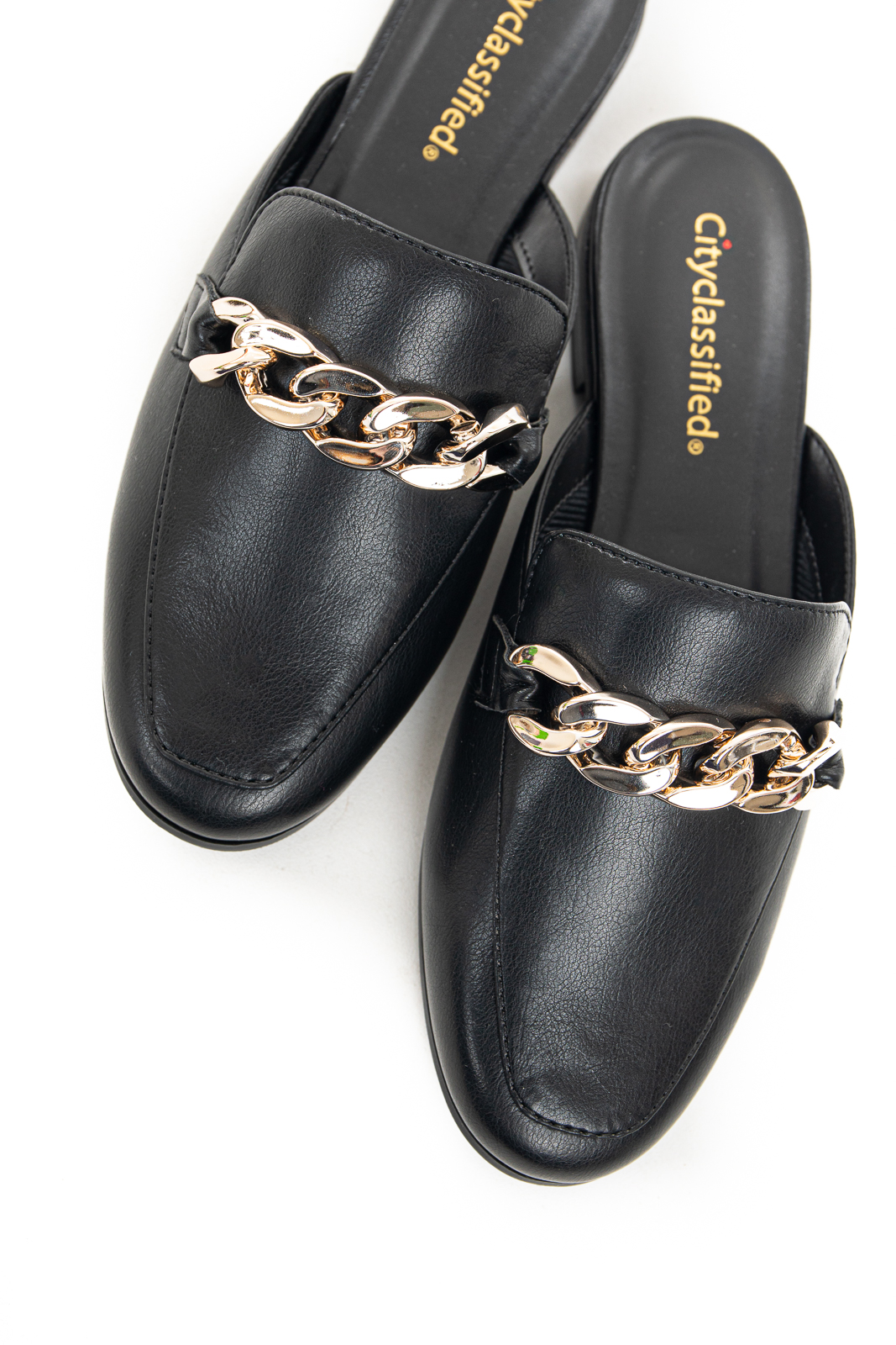 Black Leather Slip On Flat Mules with Gold Chain Detail