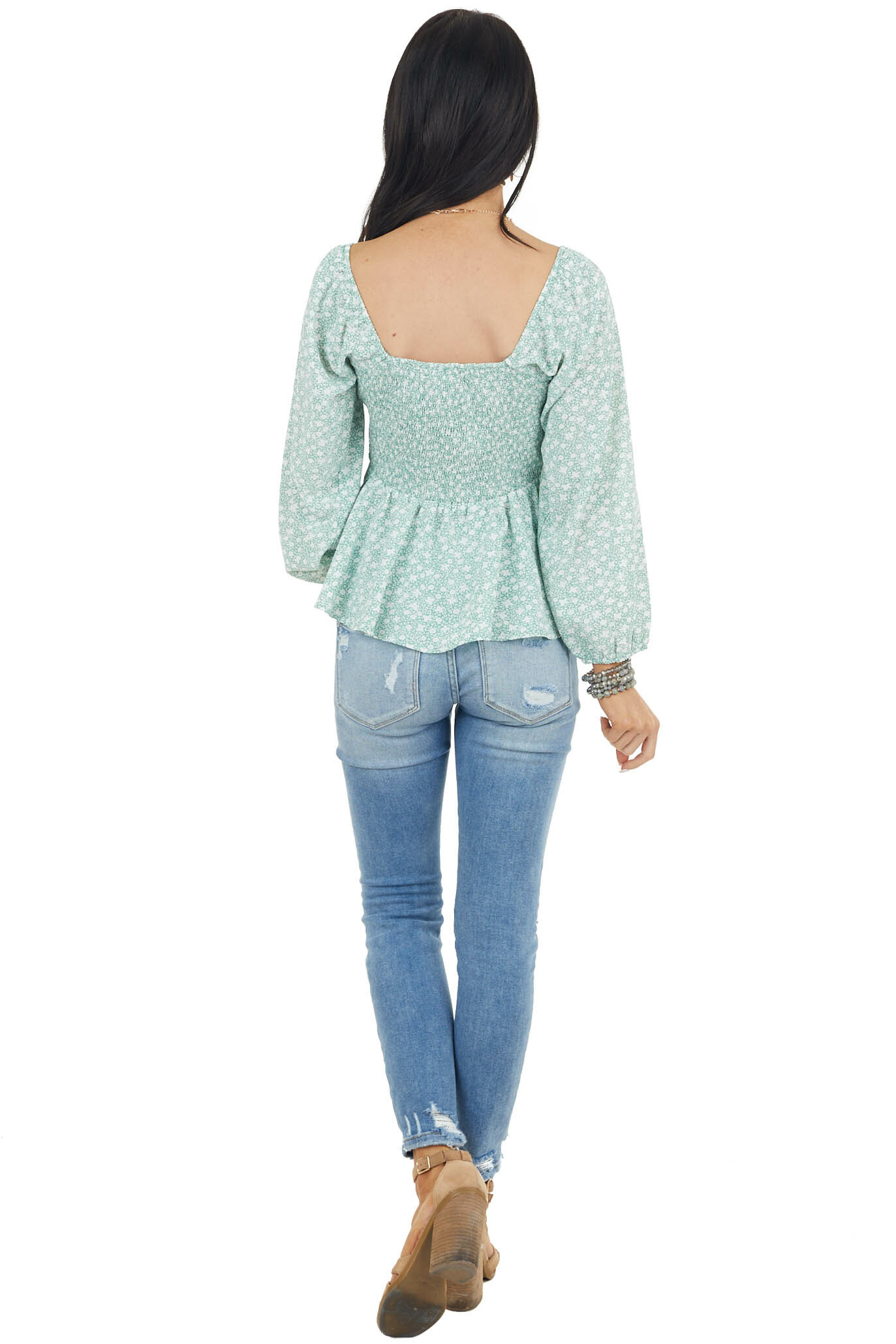 Sage Ditsy Floral Print Smocked 3/4 Sleeve Woven Top