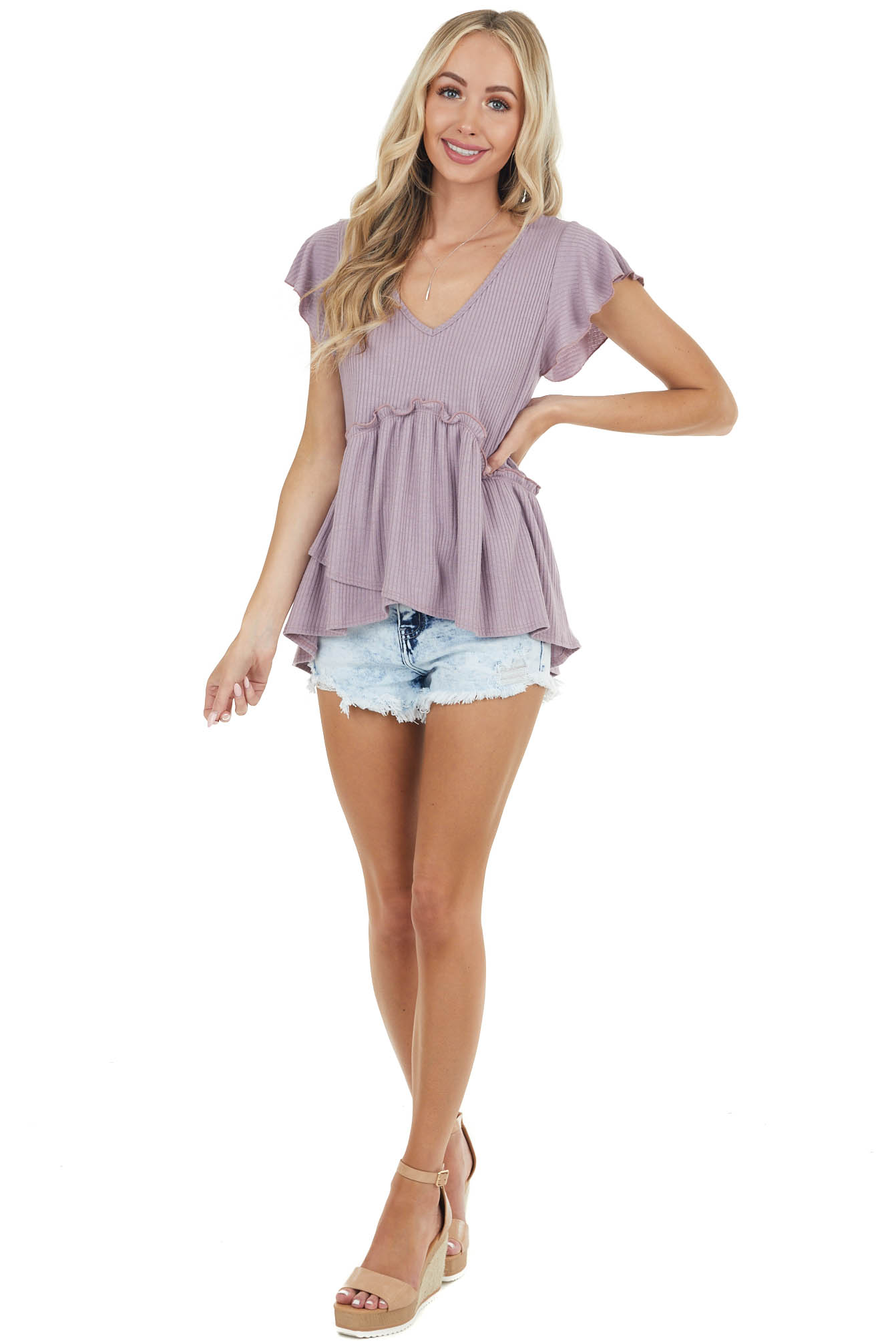 Dusty Lavender Babydoll Top with High Low Tulip Hemline