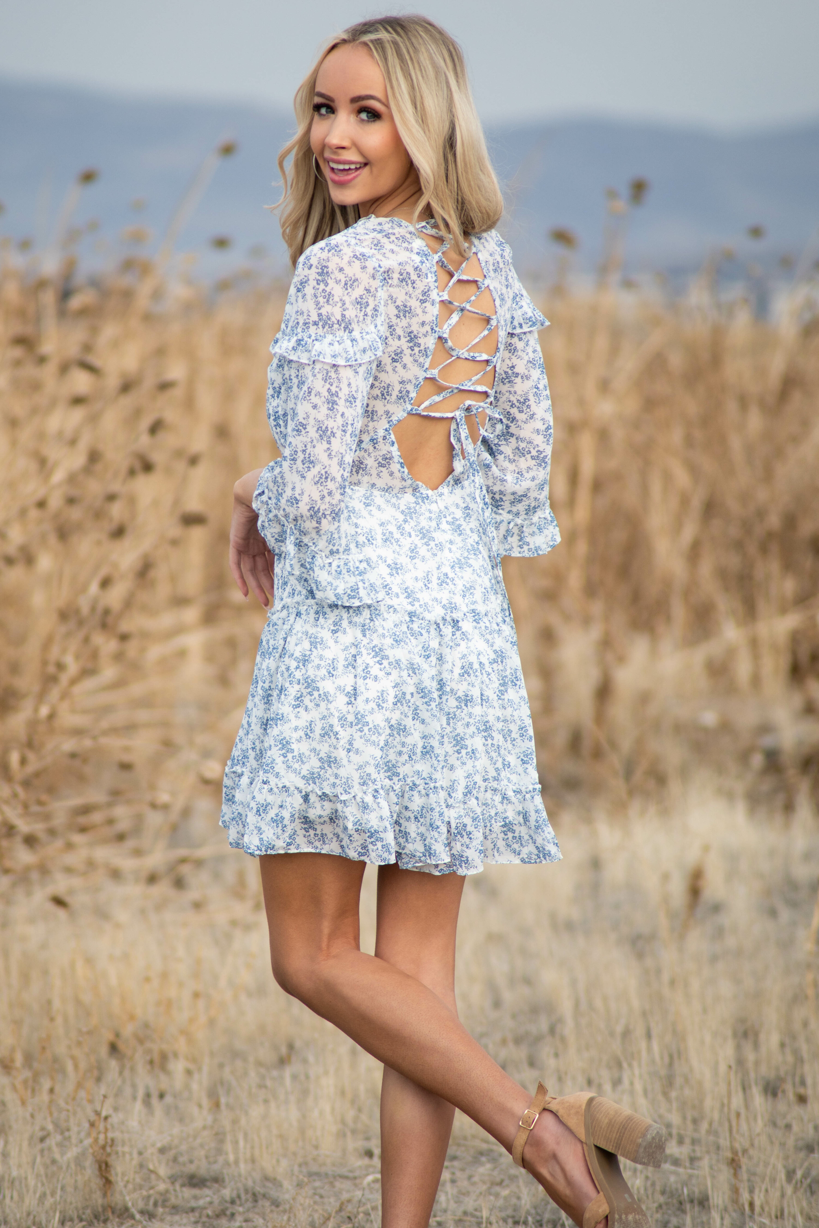 Ocean Ditsy Floral Tiered Short Dress with Open Back Detail