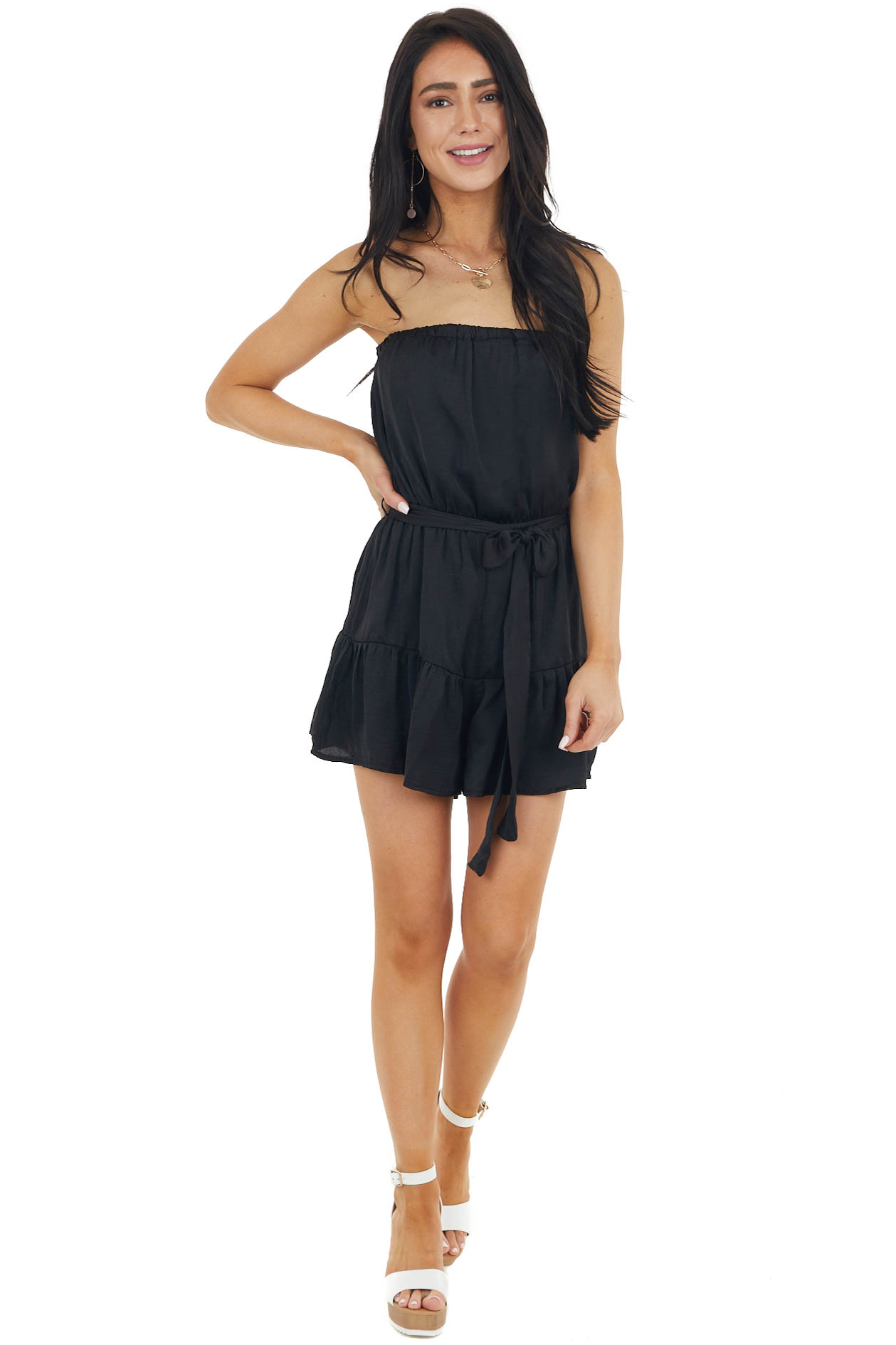 Black Silky Strapless Woven Romper with Front Tie Detail