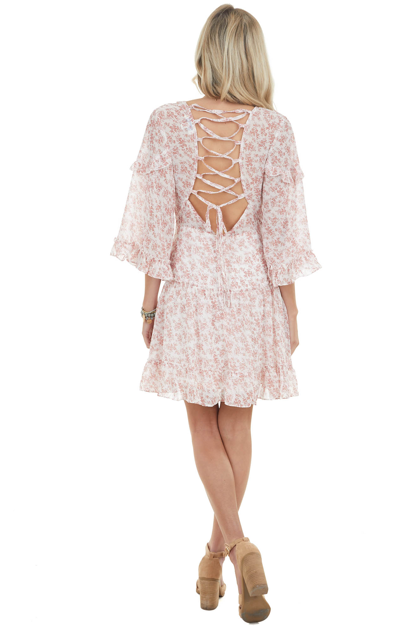 Punch Pink Ditsy Floral Tiered Dress with Open Back Detail
