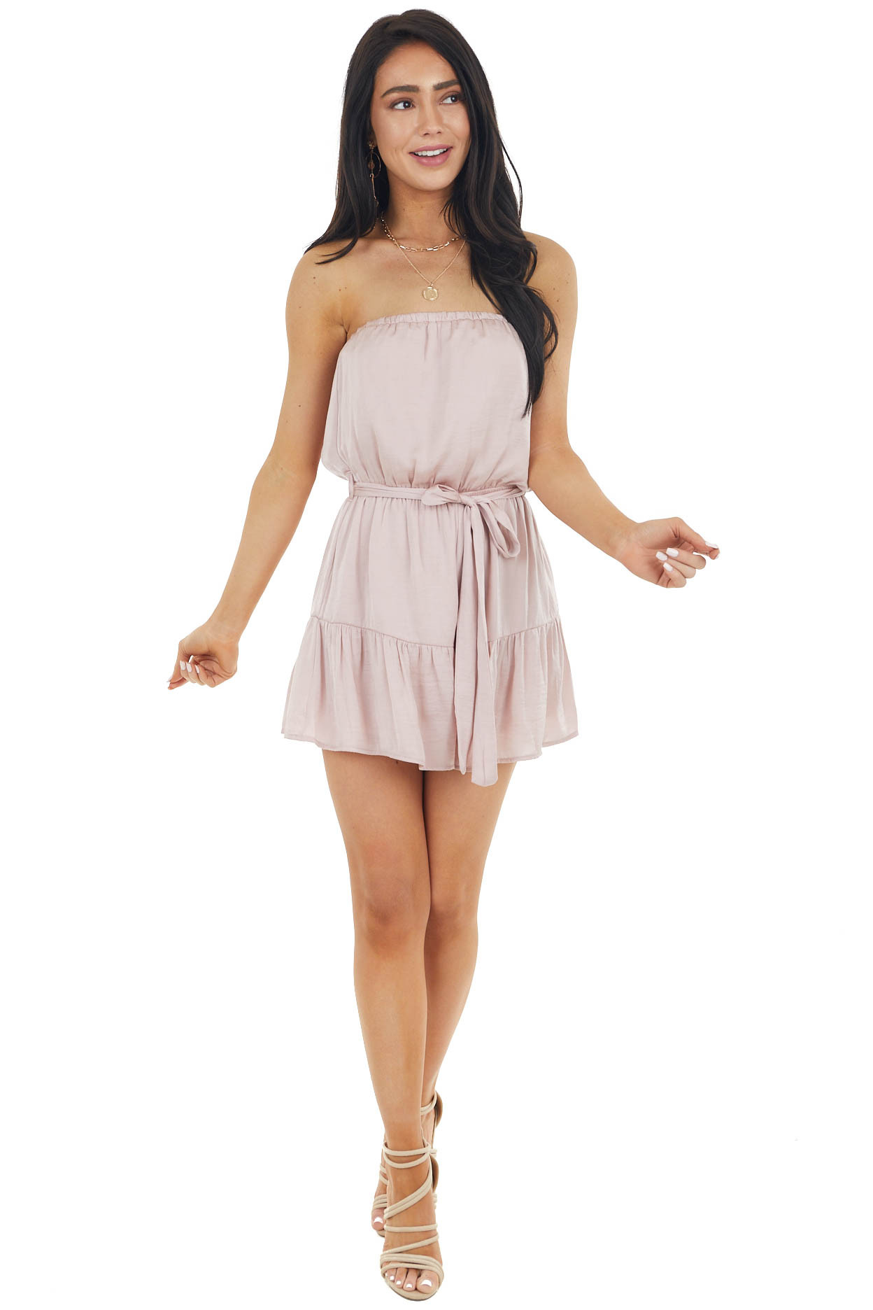 Blush Silky Strapless Woven Romper with Front Tie Detail