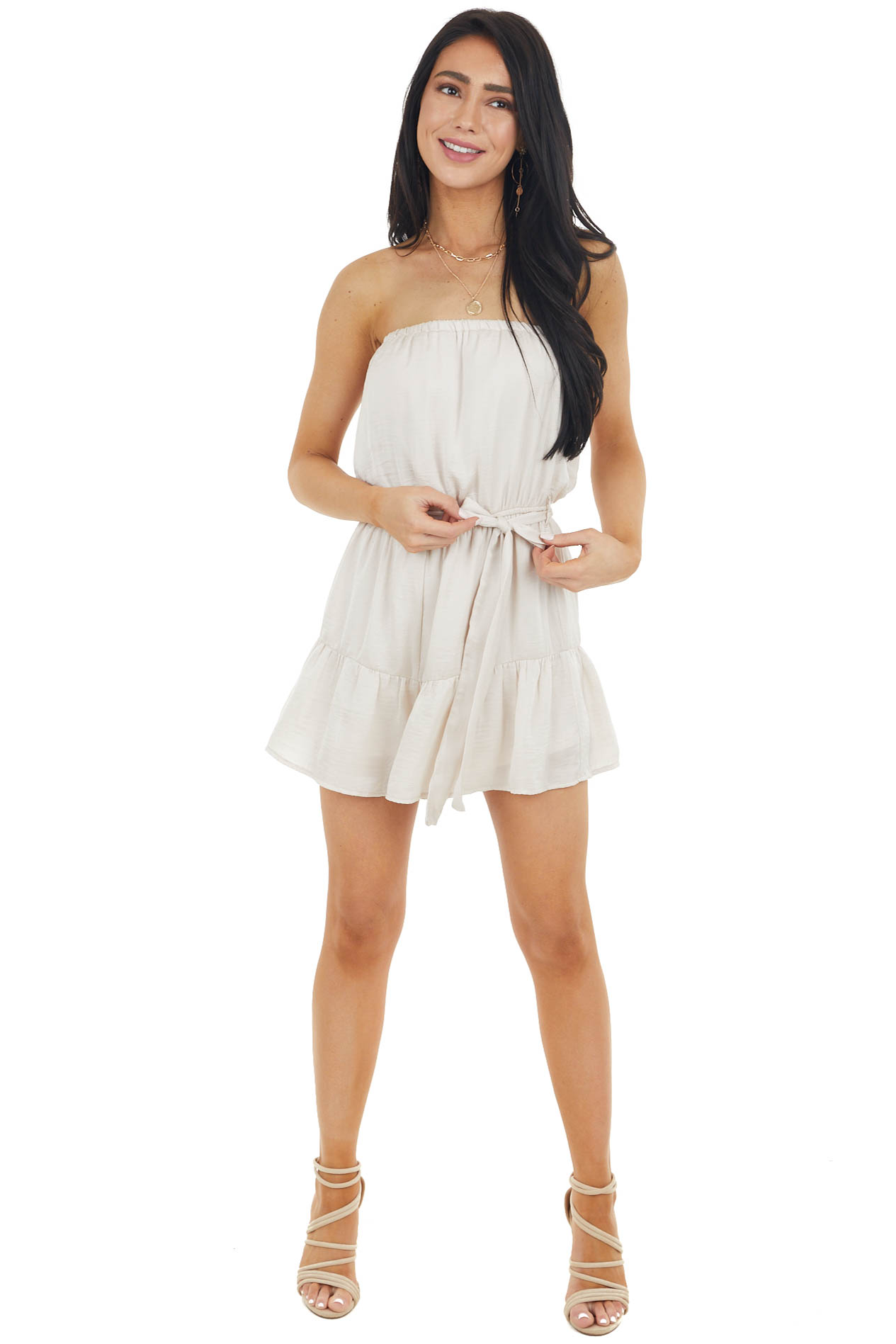 Vanilla Silky Strapless Woven Romper with Front Tie Detail