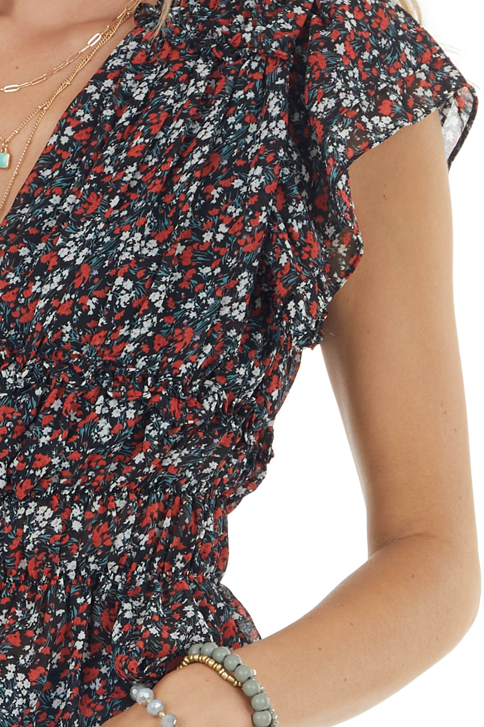 Black Ditsy Floral Print Woven Top with Ruffled Detail