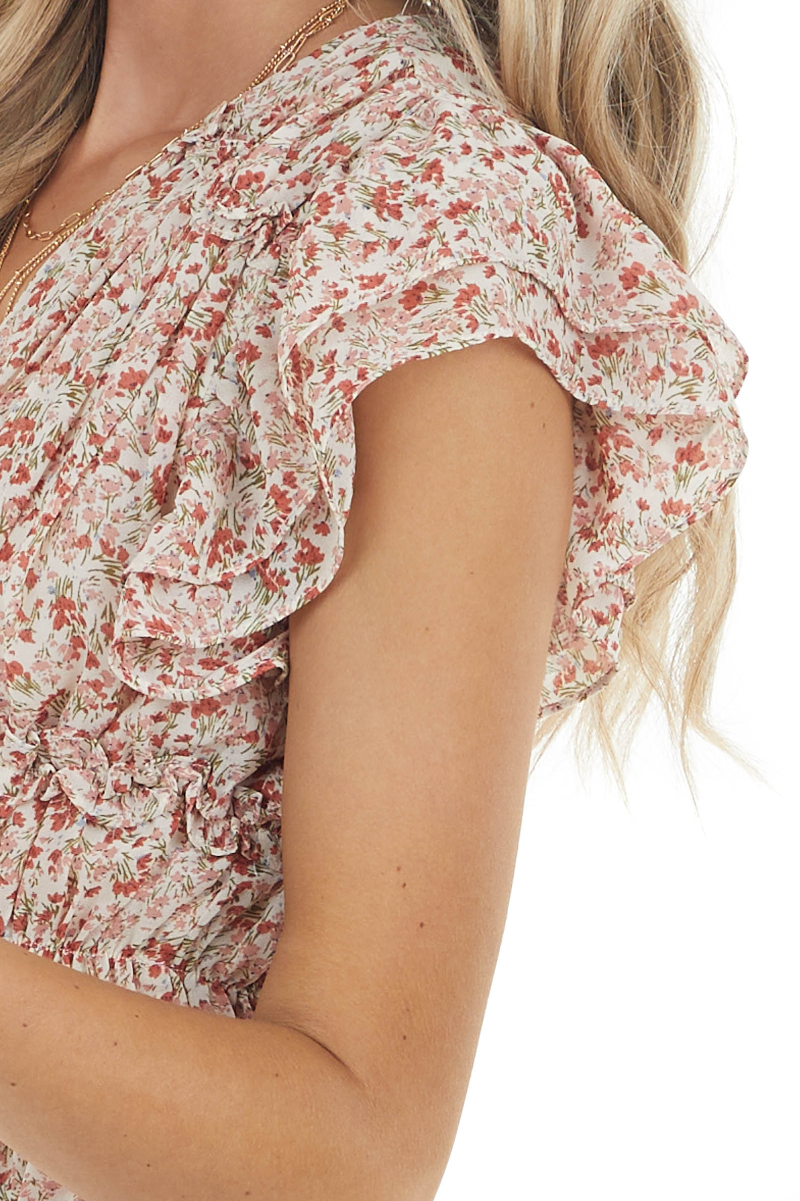 Beige Ditsy Floral Print Woven Top with Ruffled Detail