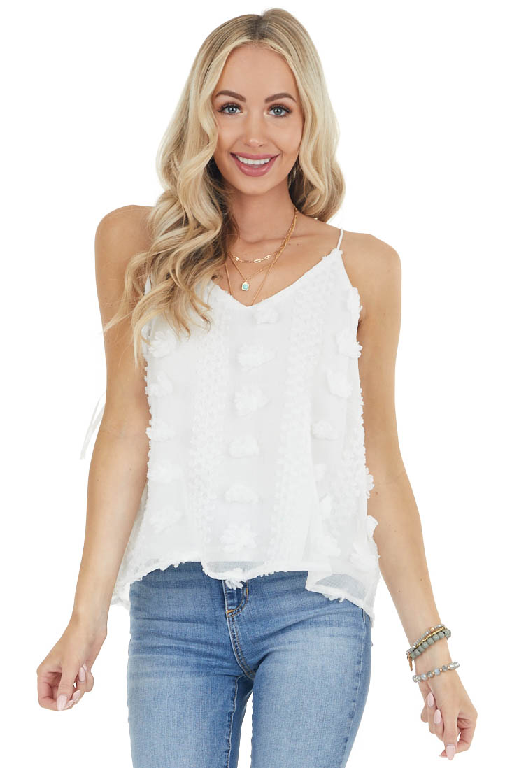 Off White Textured Swiss Dot Cami Tank Top with Rounded Hem