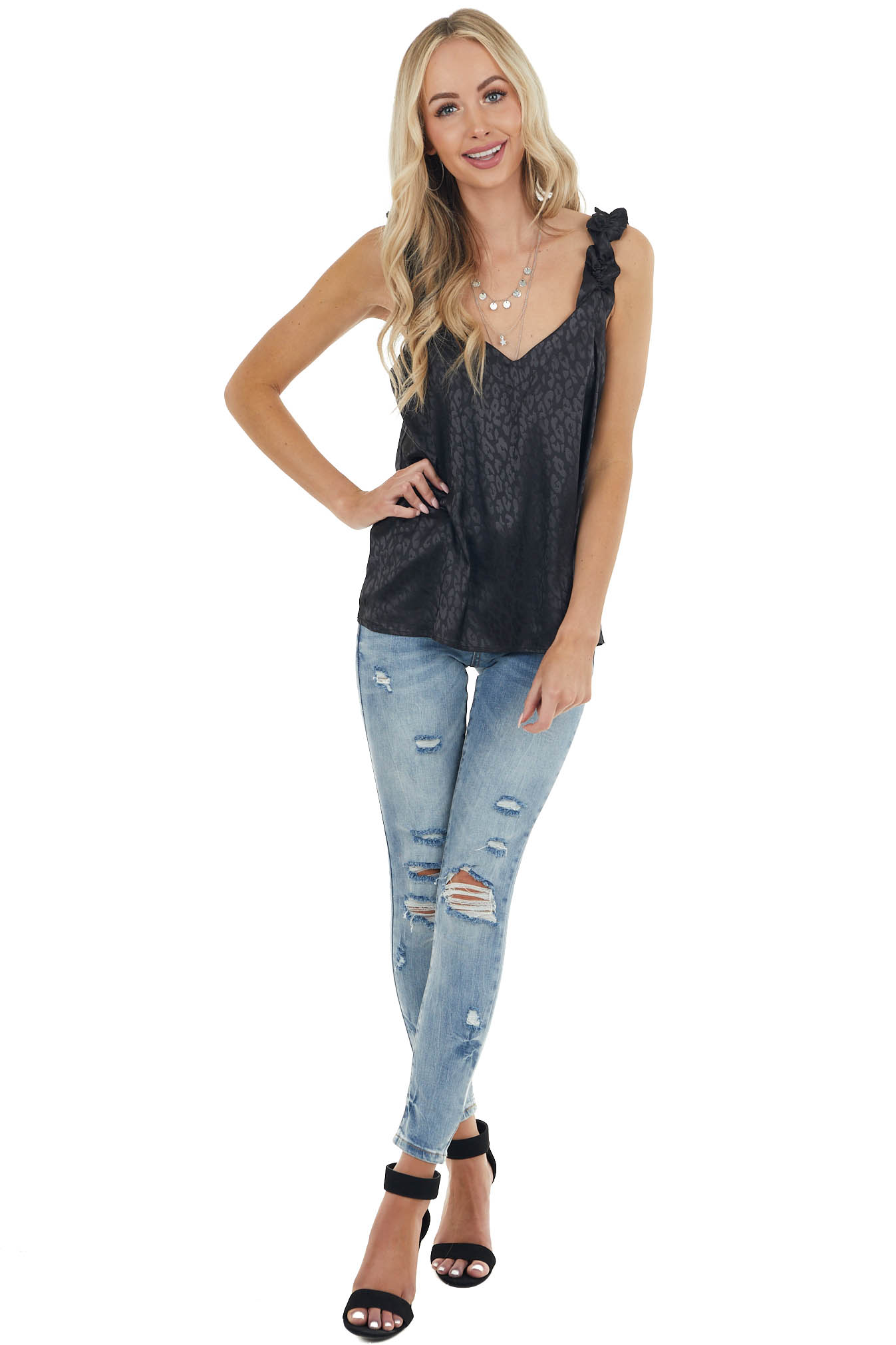 Black Leopard Print Tank Top with Elastic Ruffle Straps