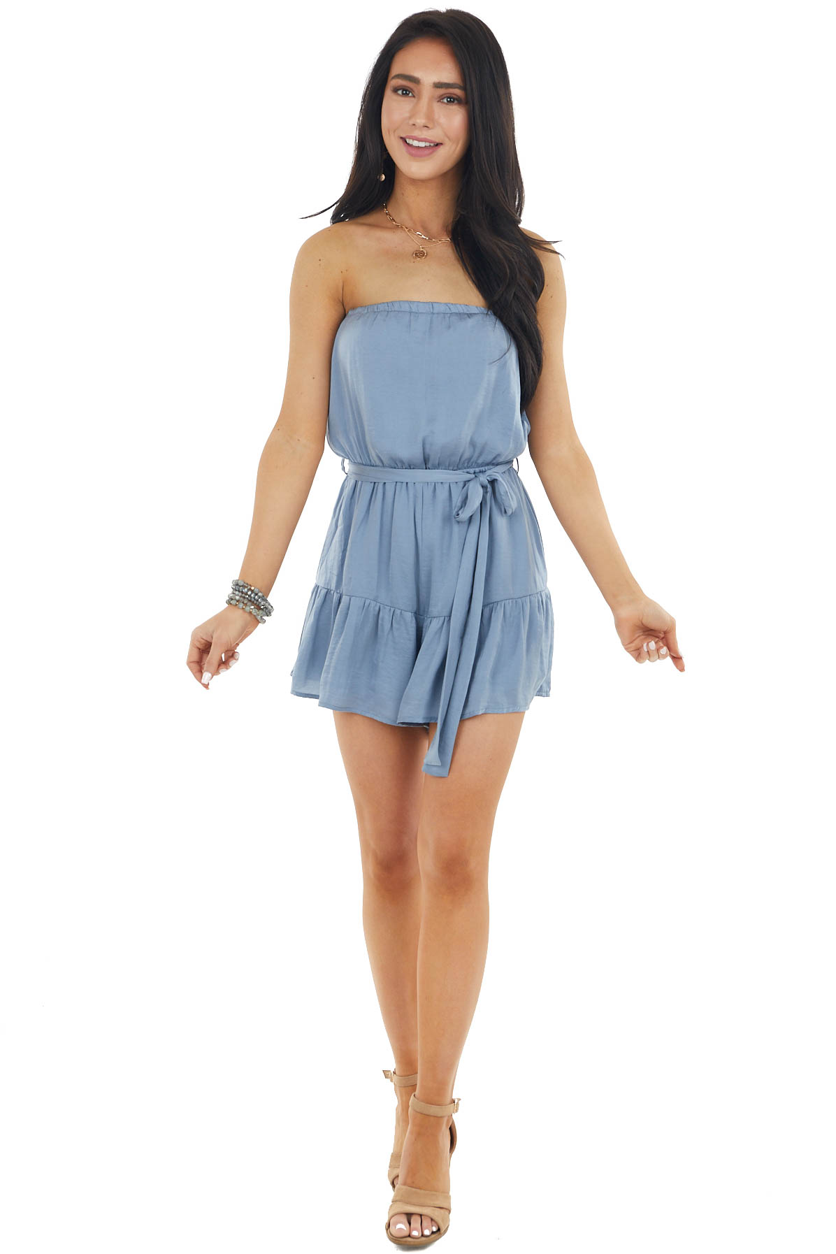 Dusty Blue Silky Strapless Woven Romper with Front Tie
