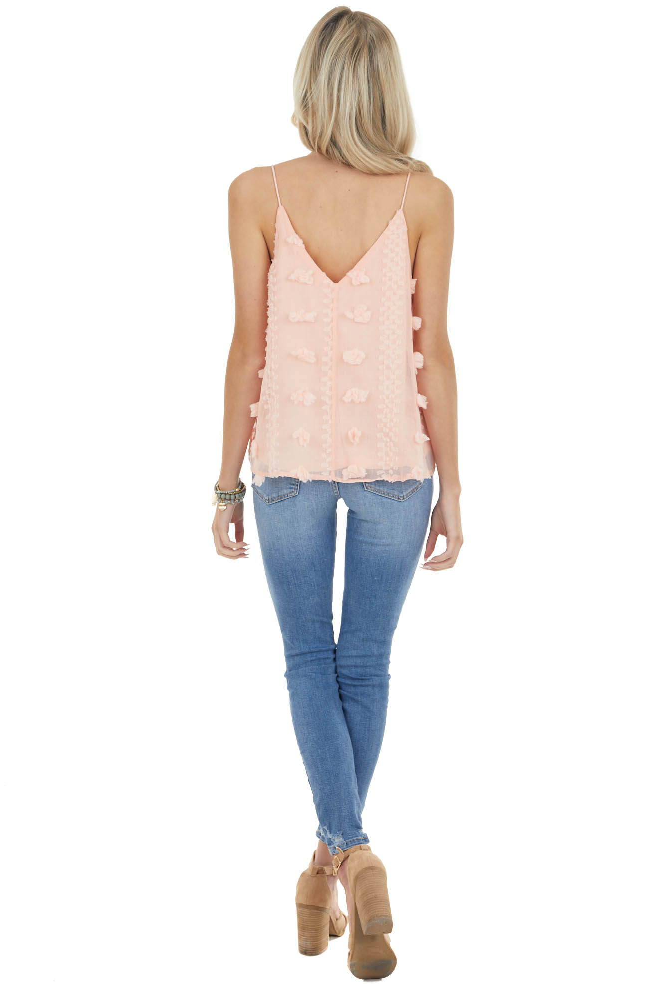 Coral Textured Swiss Dot Cami Tank Top with Rounded Hem