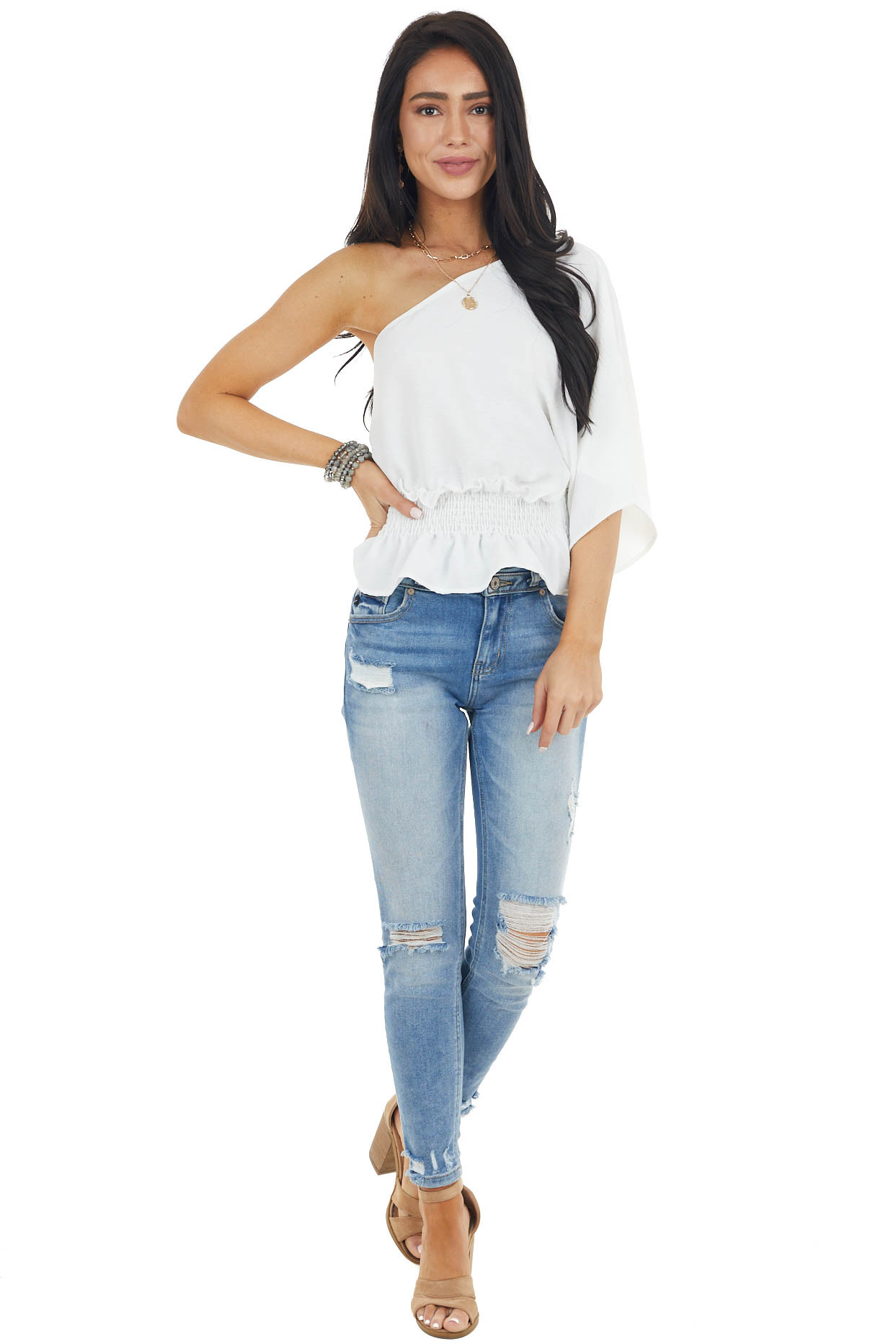 Off White One Shoulder Short Sleeve Top with Smocked Waist