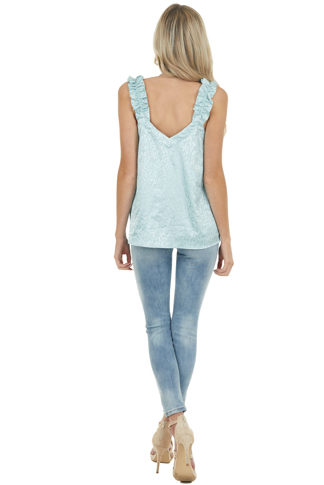 Sky Blue Leopard Print Tank Top with Elastic Ruffle Straps